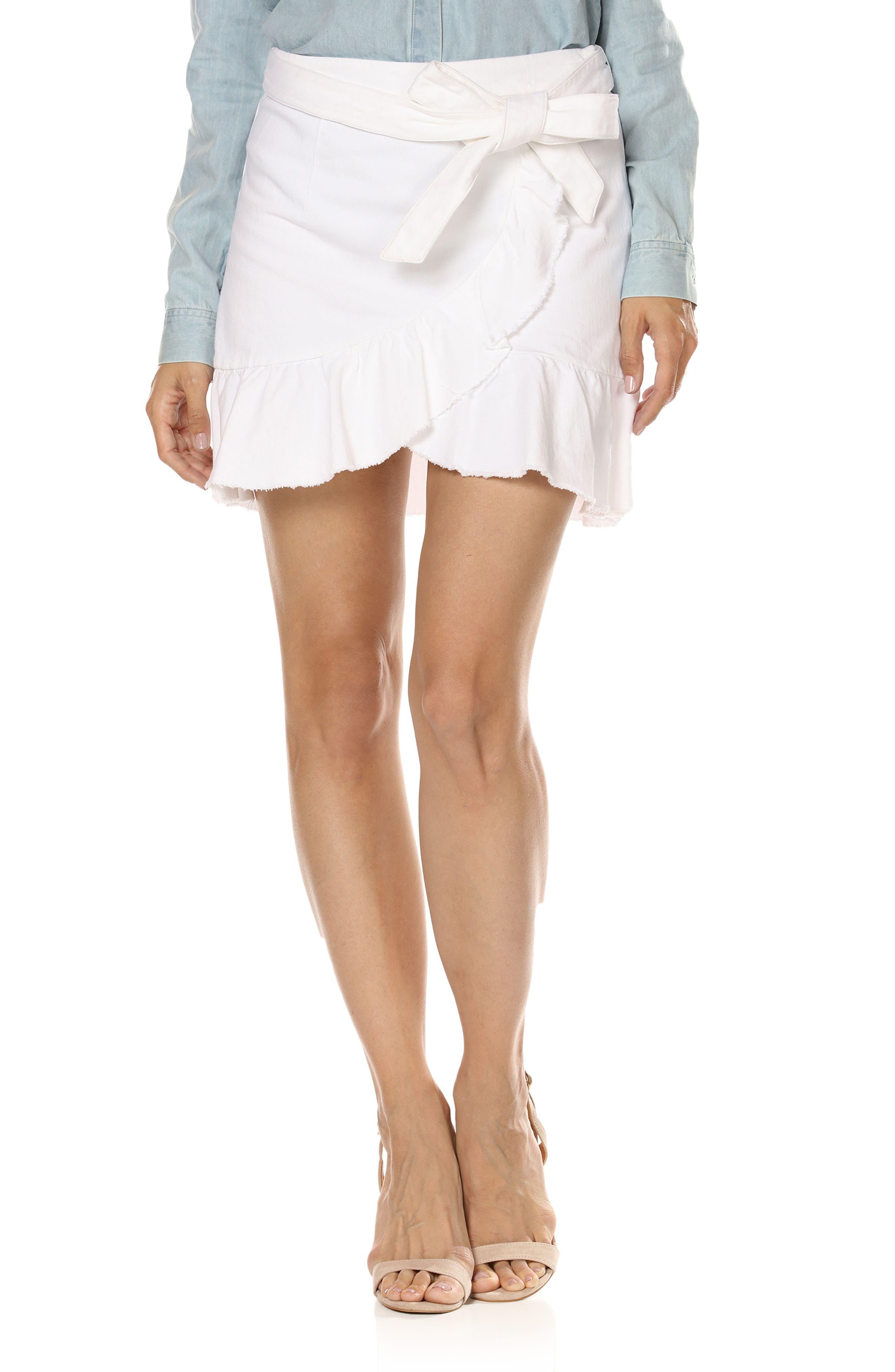 Nivelle Ruffle Denim Skirt,                             Main thumbnail 1, color,                             Crisp White