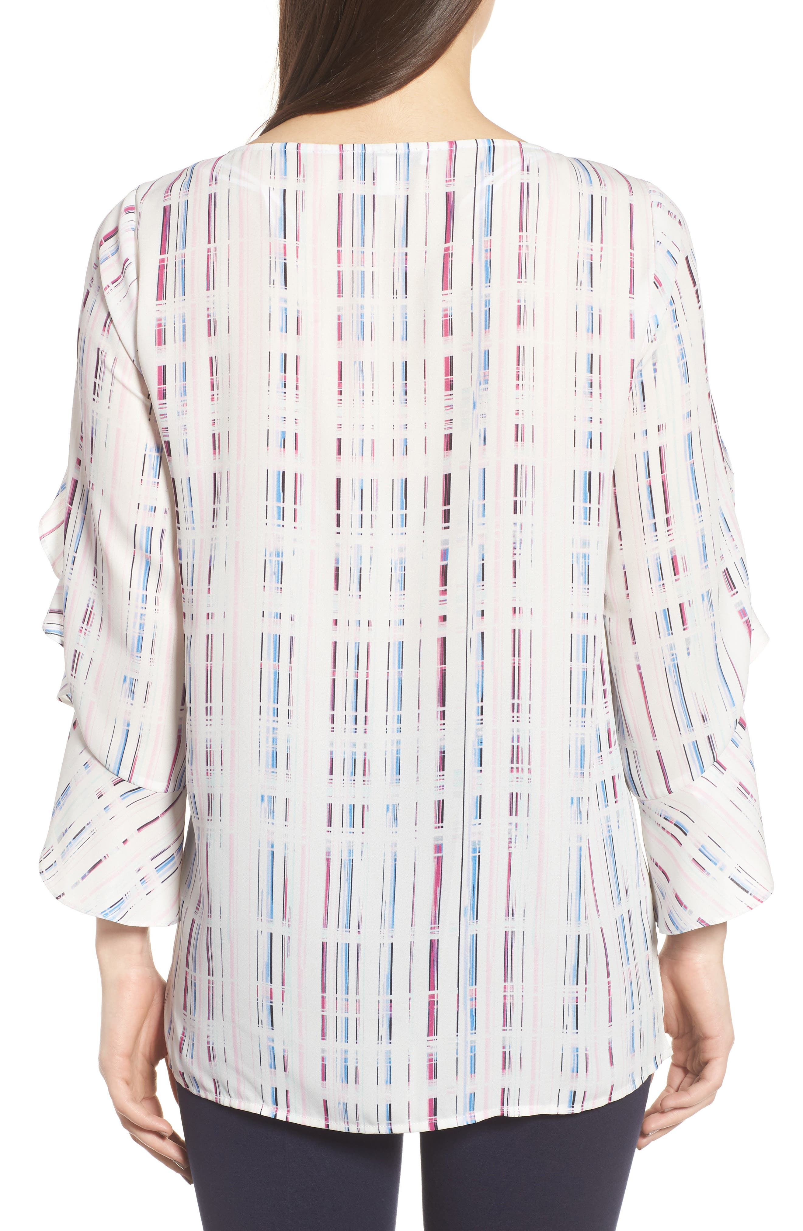 Prism Grid Print Blouse,                             Alternate thumbnail 2, color,                             103-New Ivory