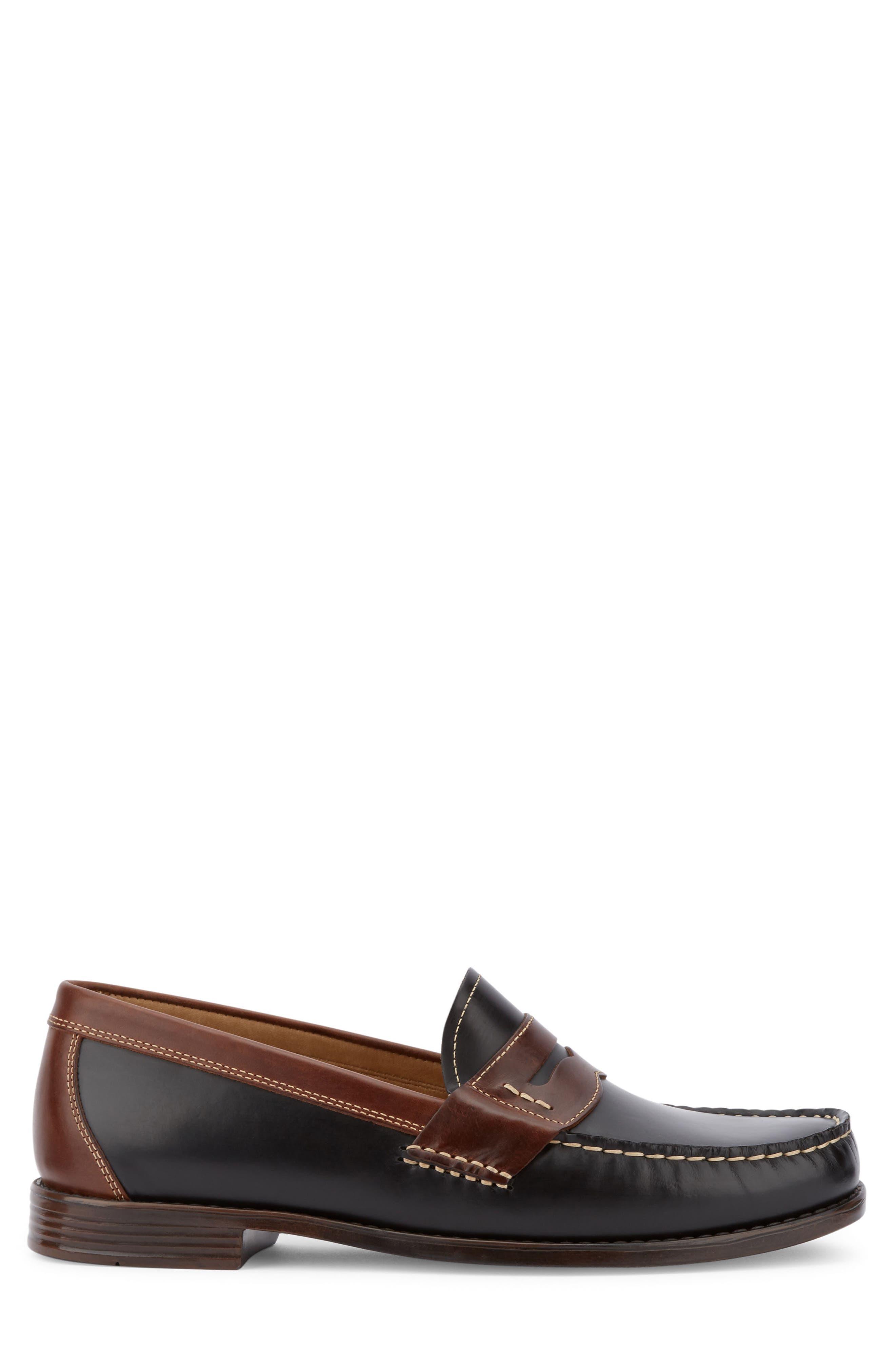 Wagner Penny Loafer,                             Alternate thumbnail 3, color,                             Black/ Dark Brown Leather