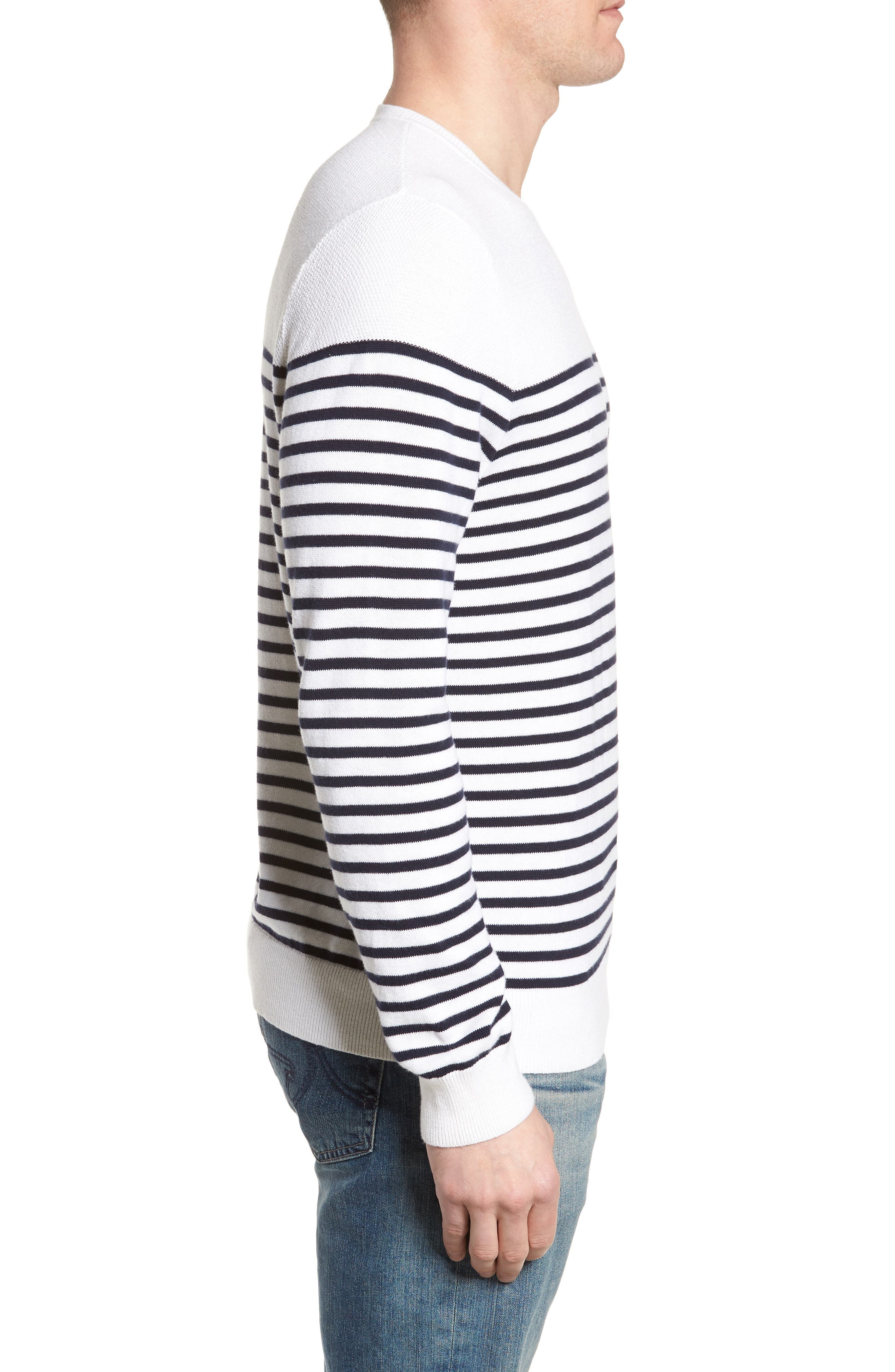 Breton Stripe Sweater,                             Alternate thumbnail 4, color,                             White Navy Stripe
