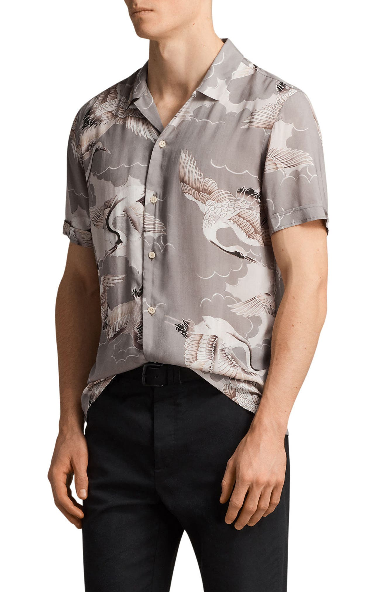 Alternate Image 3  - ALLSAINTS Romanji Slim Fit Short Sleeve Sport Shirt