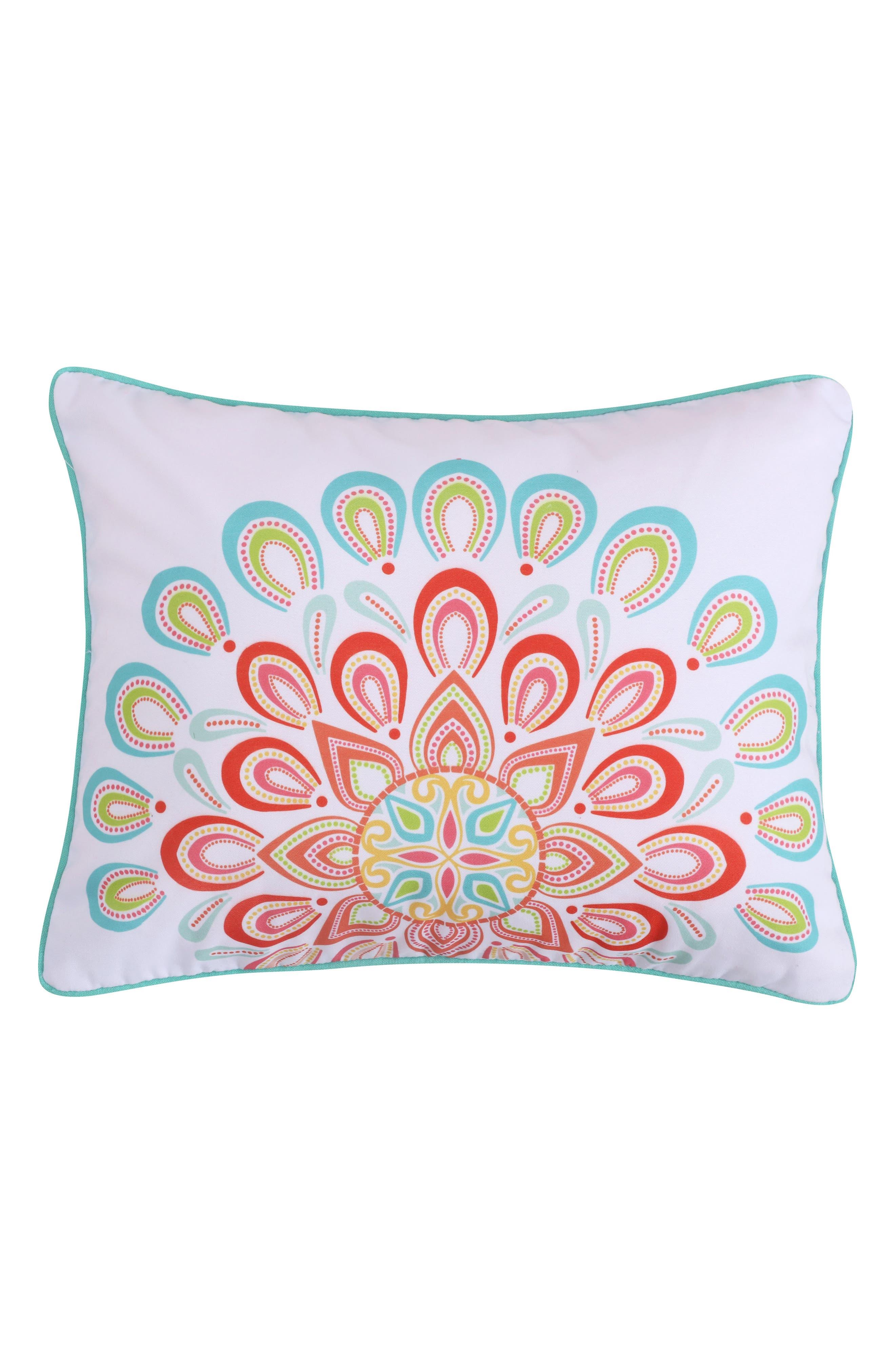 Lori Suzani Accent Pillow,                             Main thumbnail 1, color,                             Coral
