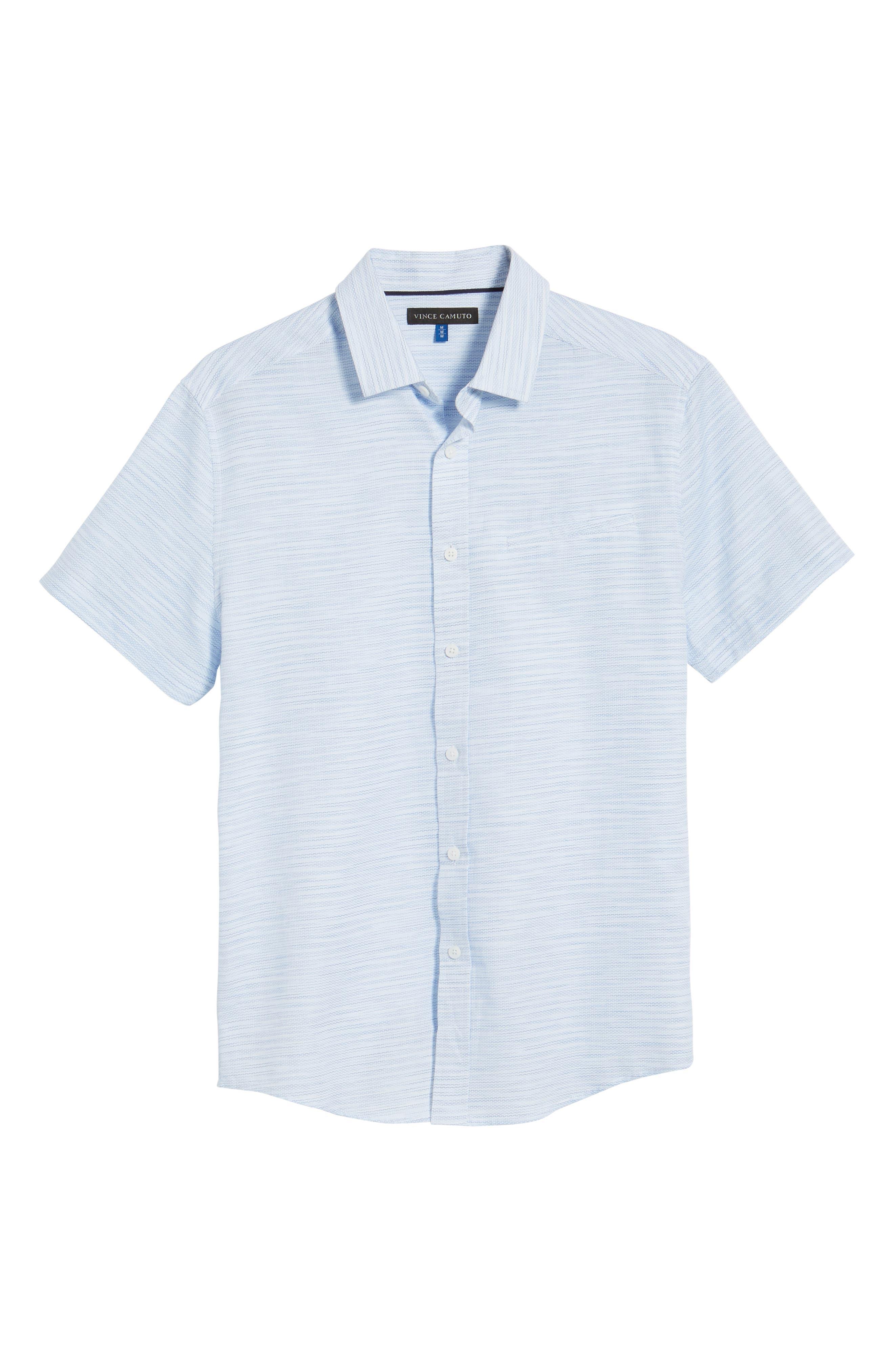 Slim Fit Stripe Short Sleeve Sport Shirt,                             Alternate thumbnail 6, color,                             Light/ Pastel Blue Dobby