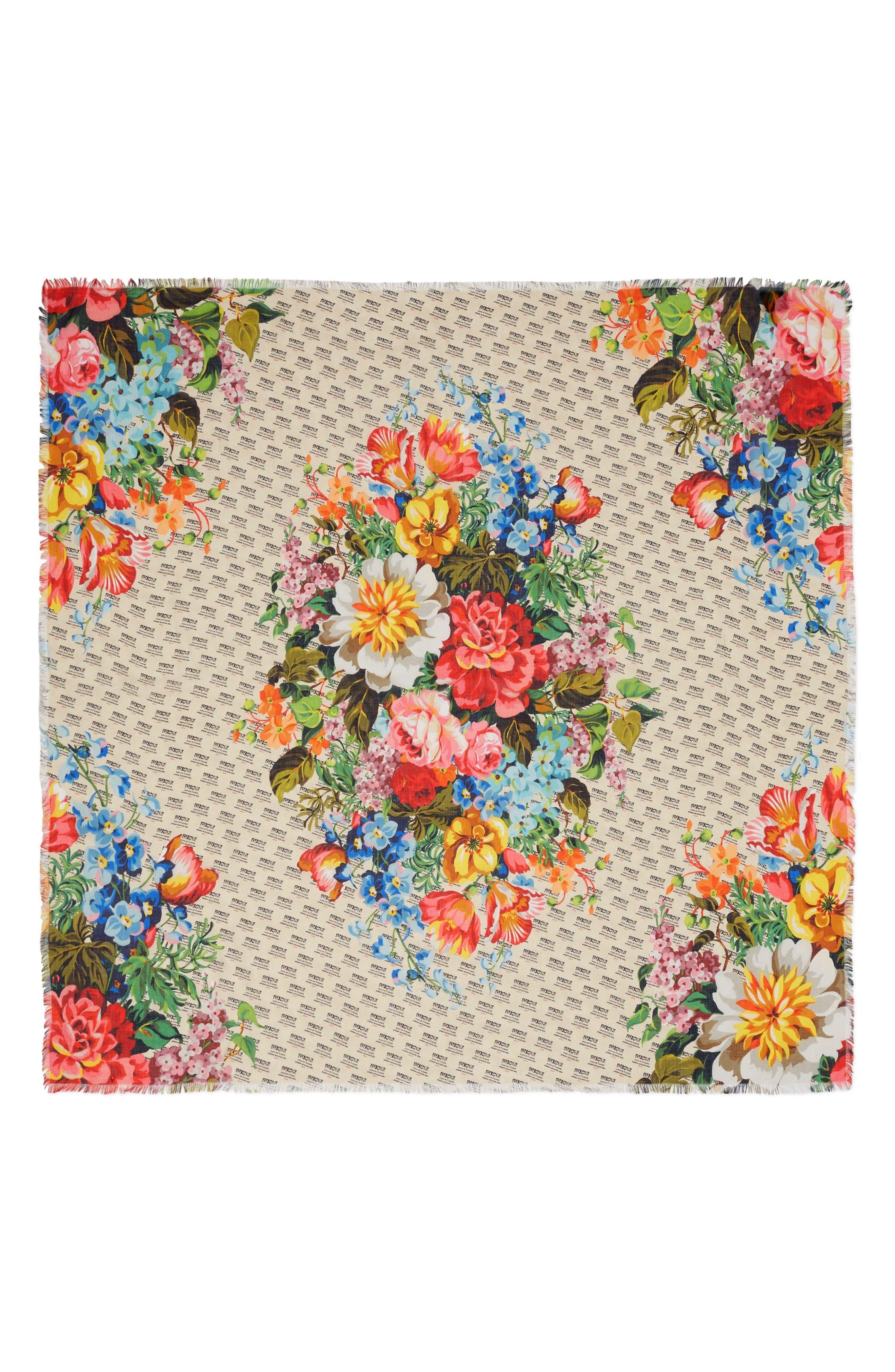 Night Flowers Modal & Silk Shawl,                             Alternate thumbnail 2, color,                             Ivory/ Multicolor