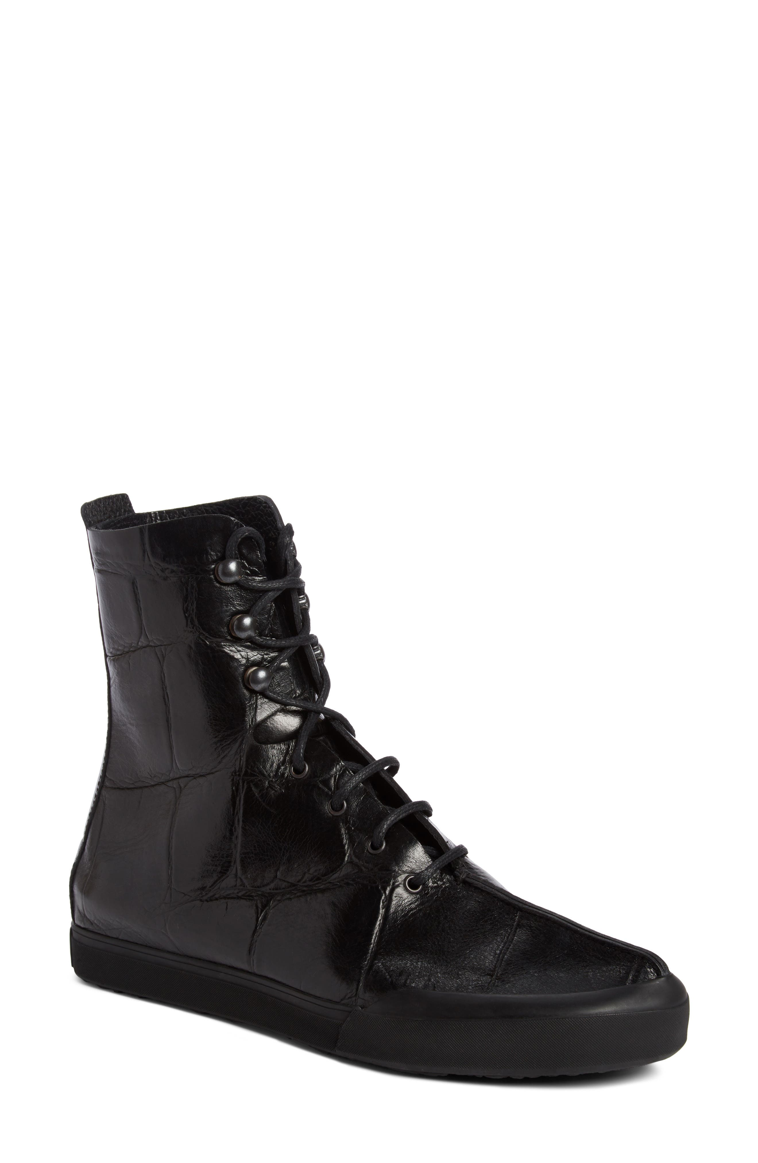 Croc Embossed Lace-Up Boot,                             Main thumbnail 1, color,                             Black