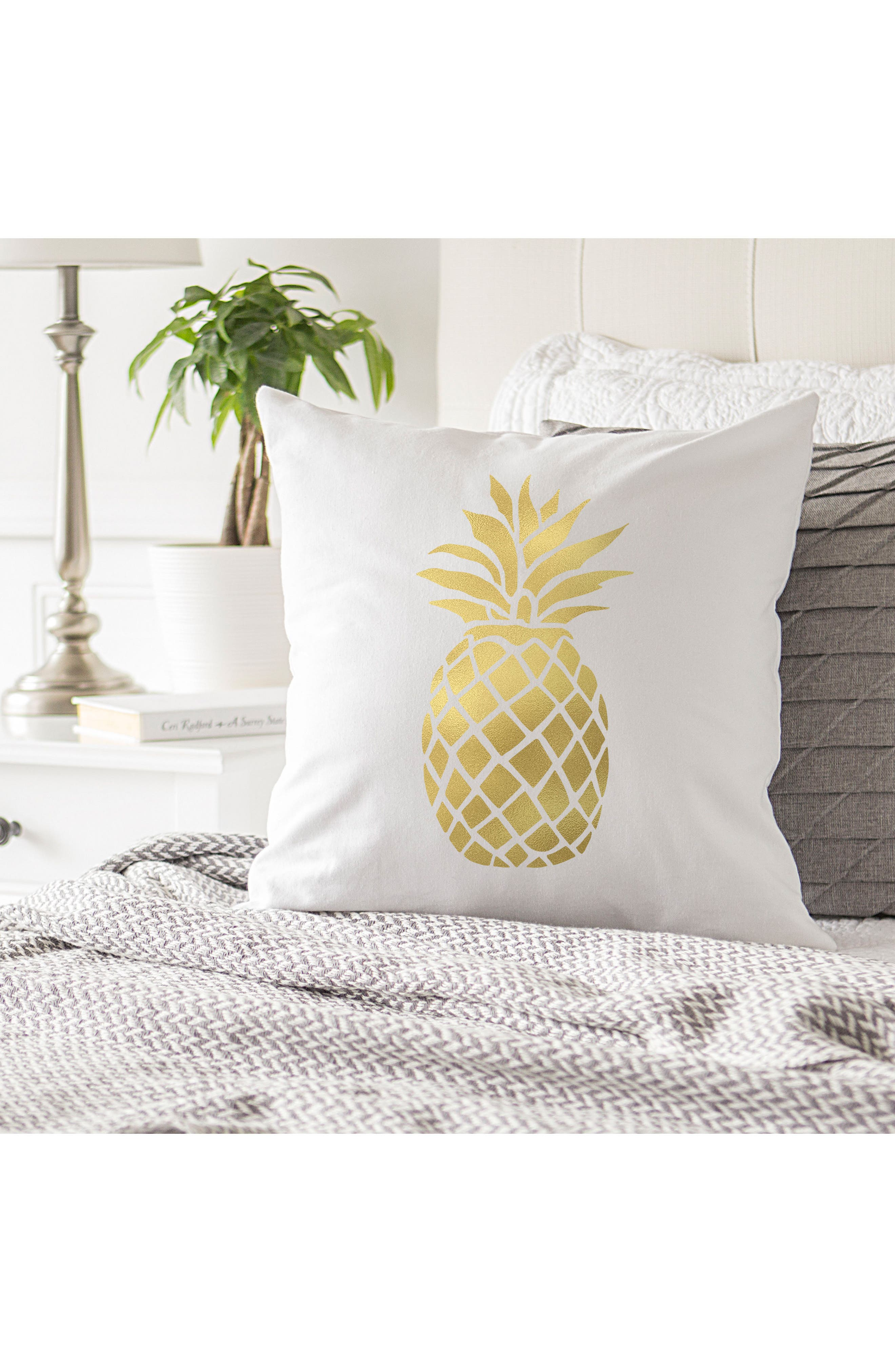 Pineapple Accent Pillow,                             Alternate thumbnail 2, color,                             Gold