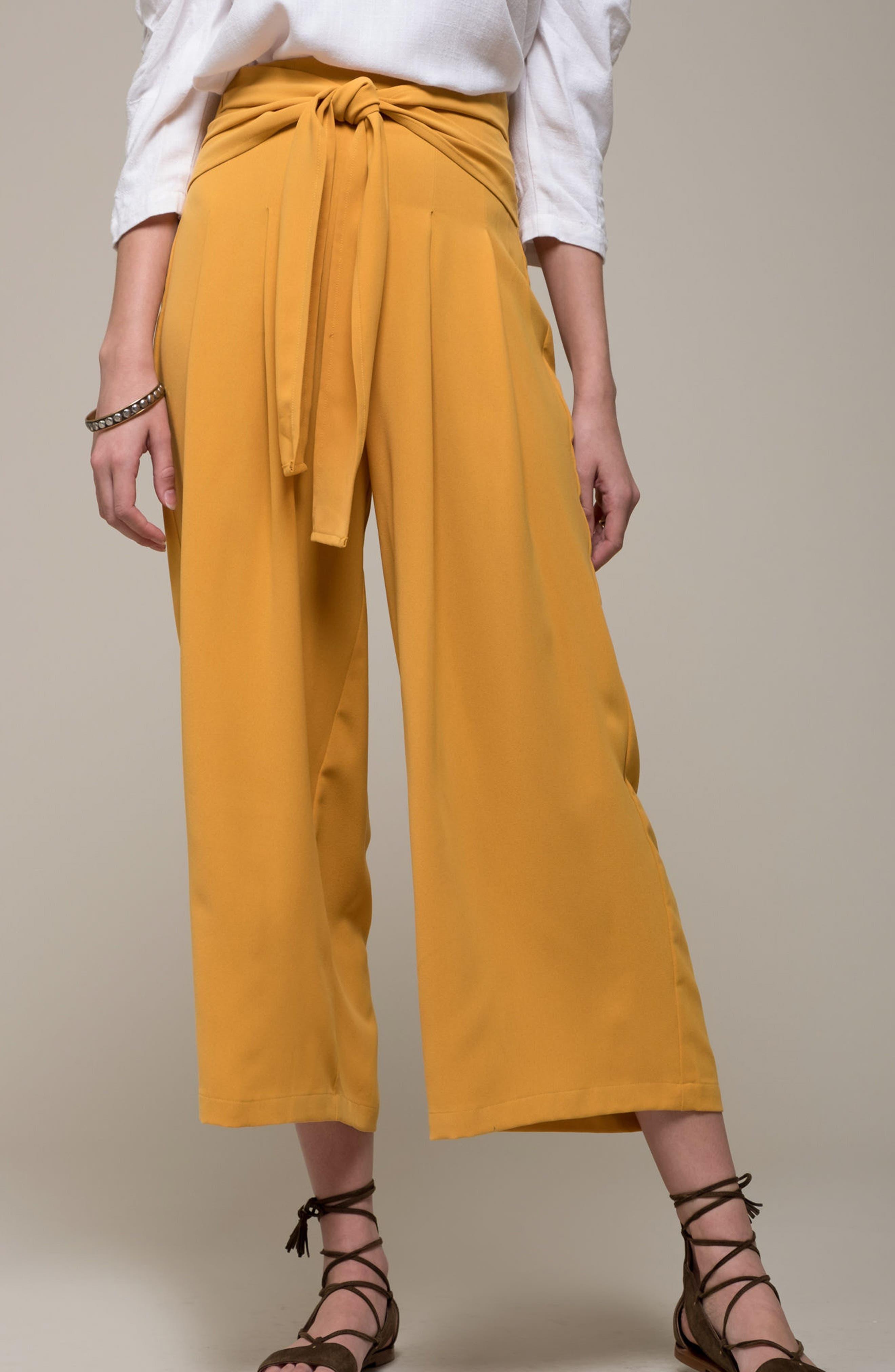 Crop Tie Waist Pants,                             Alternate thumbnail 2, color,                             Marigold
