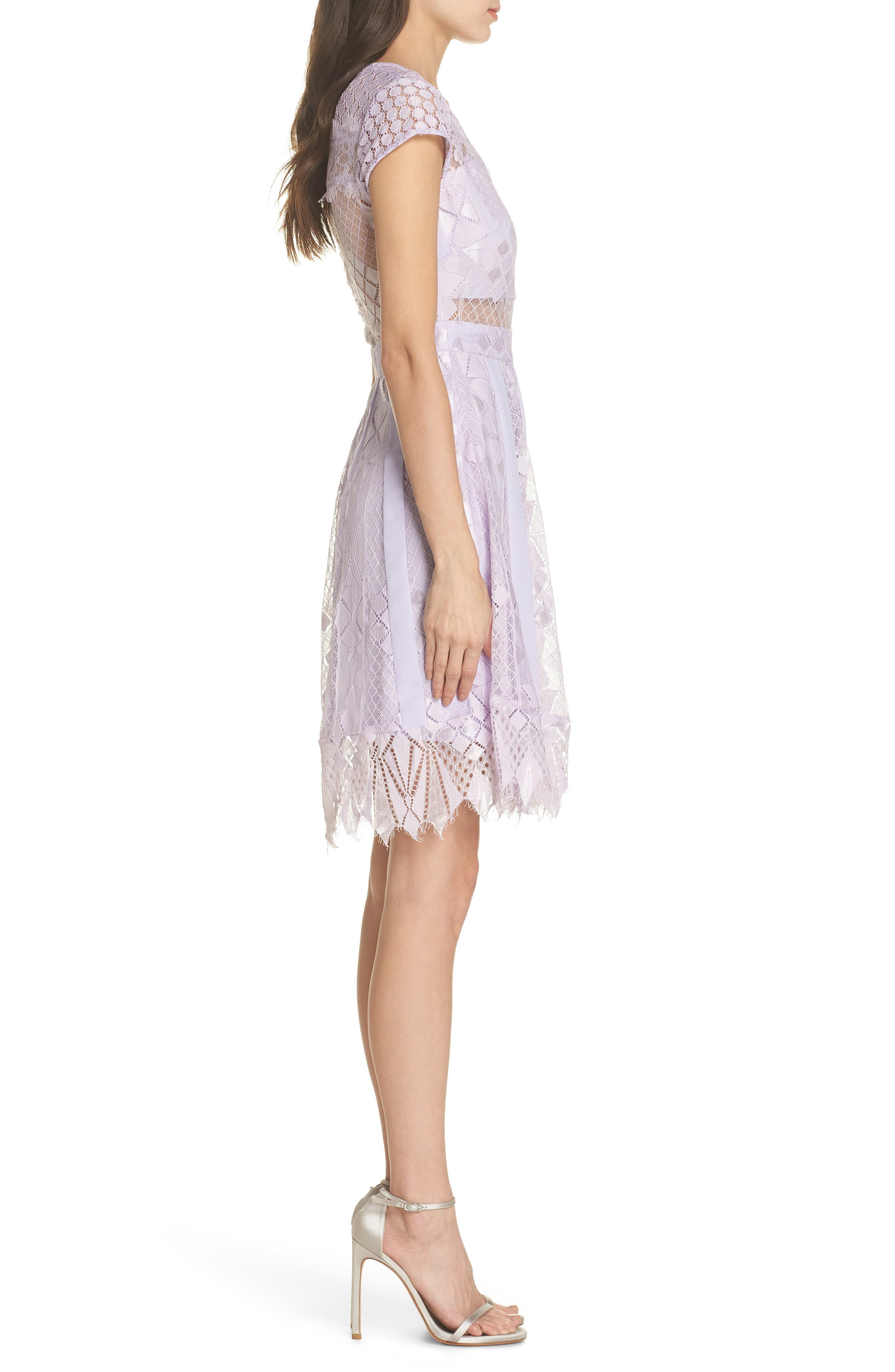 Florence Lace Fit & Flare Dress,                             Alternate thumbnail 3, color,                             Lilac
