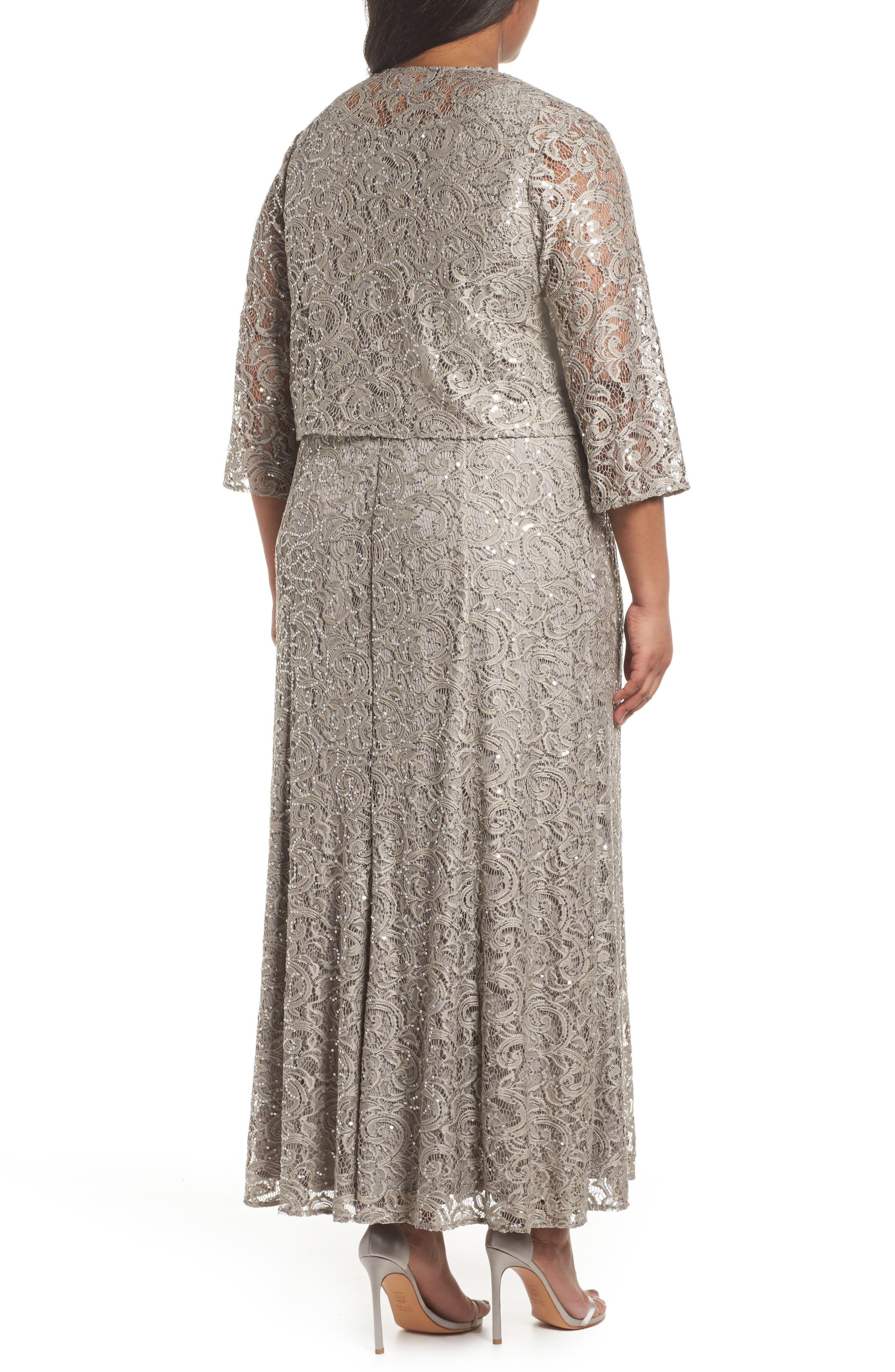 Lace & Sequin Jacket Dress,                             Alternate thumbnail 2, color,                             Pewter Frost