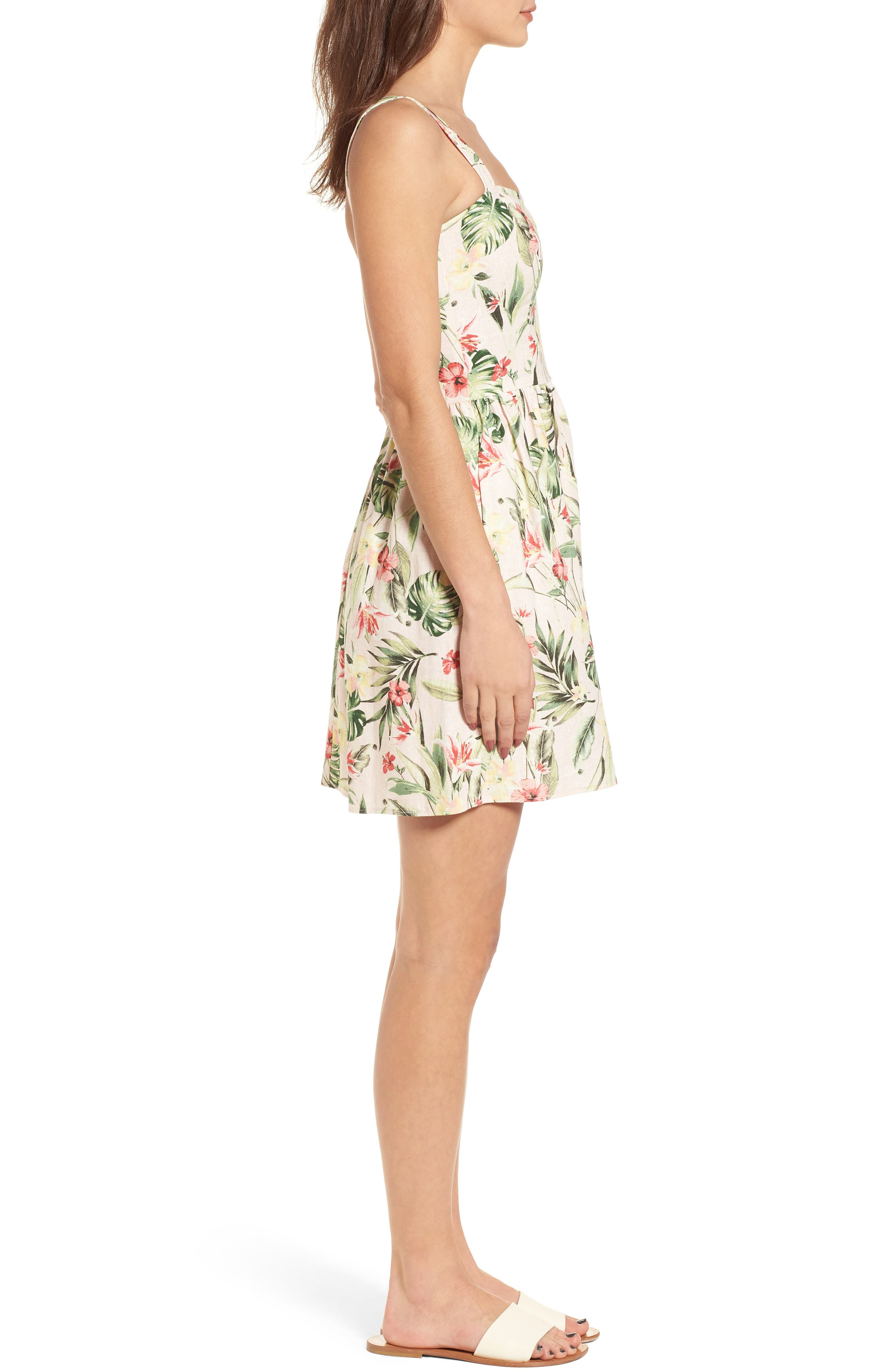 Tropical Lace Back Minidress,                             Alternate thumbnail 3, color,                             Blush/ Green