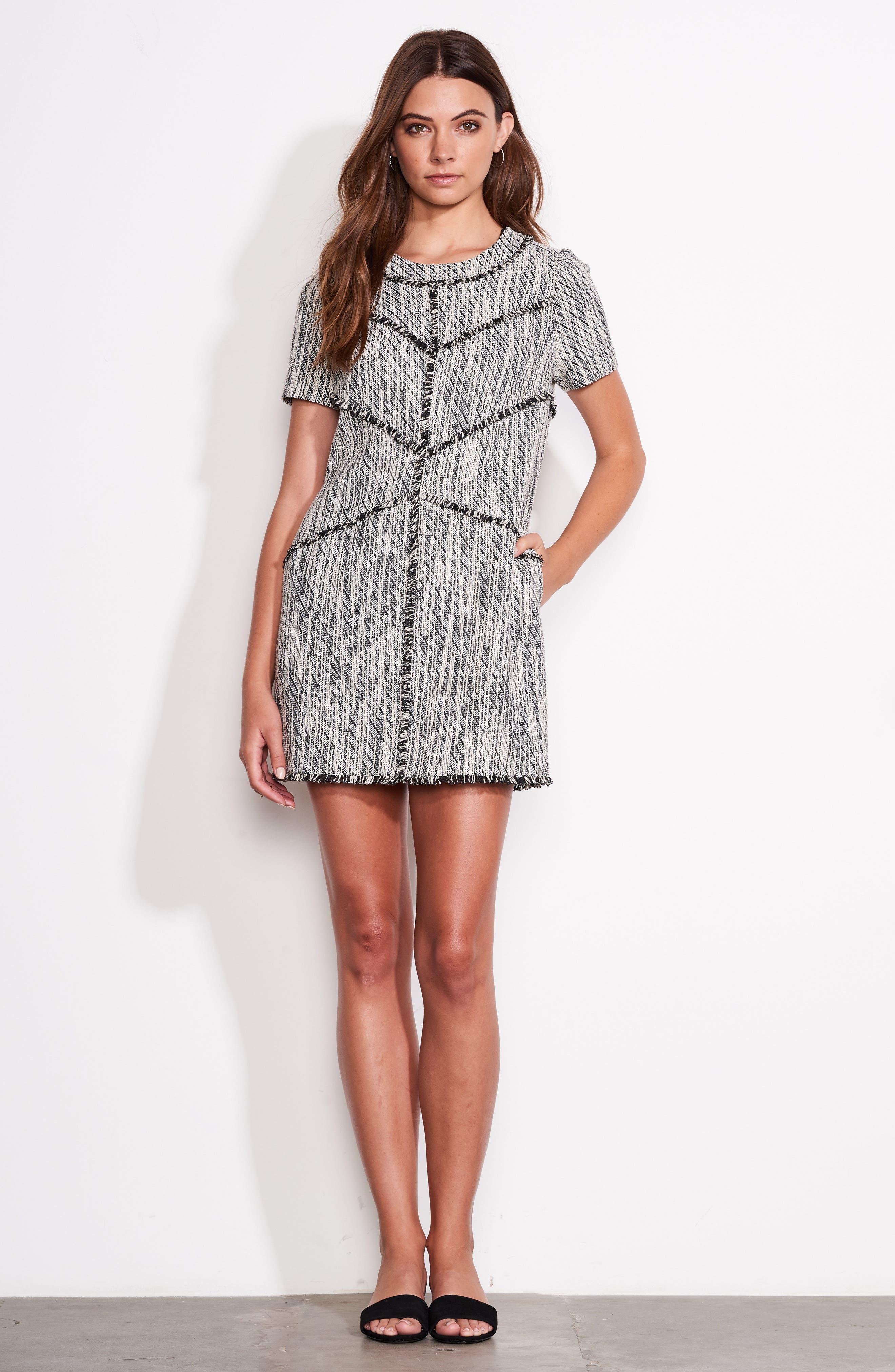 Dolce Vita Tweed Shift Dress,                             Alternate thumbnail 2, color,                             Black/ Ivory Tweed