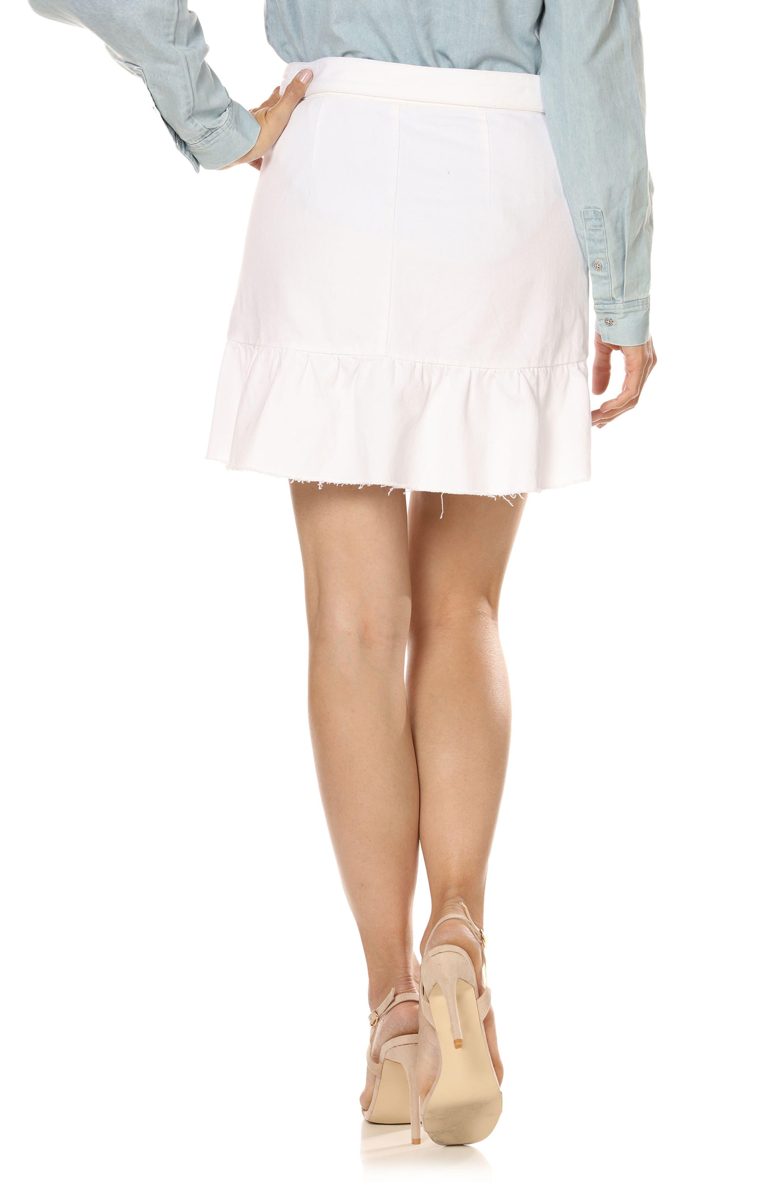 Nivelle Ruffle Denim Skirt,                             Alternate thumbnail 2, color,                             Crisp White