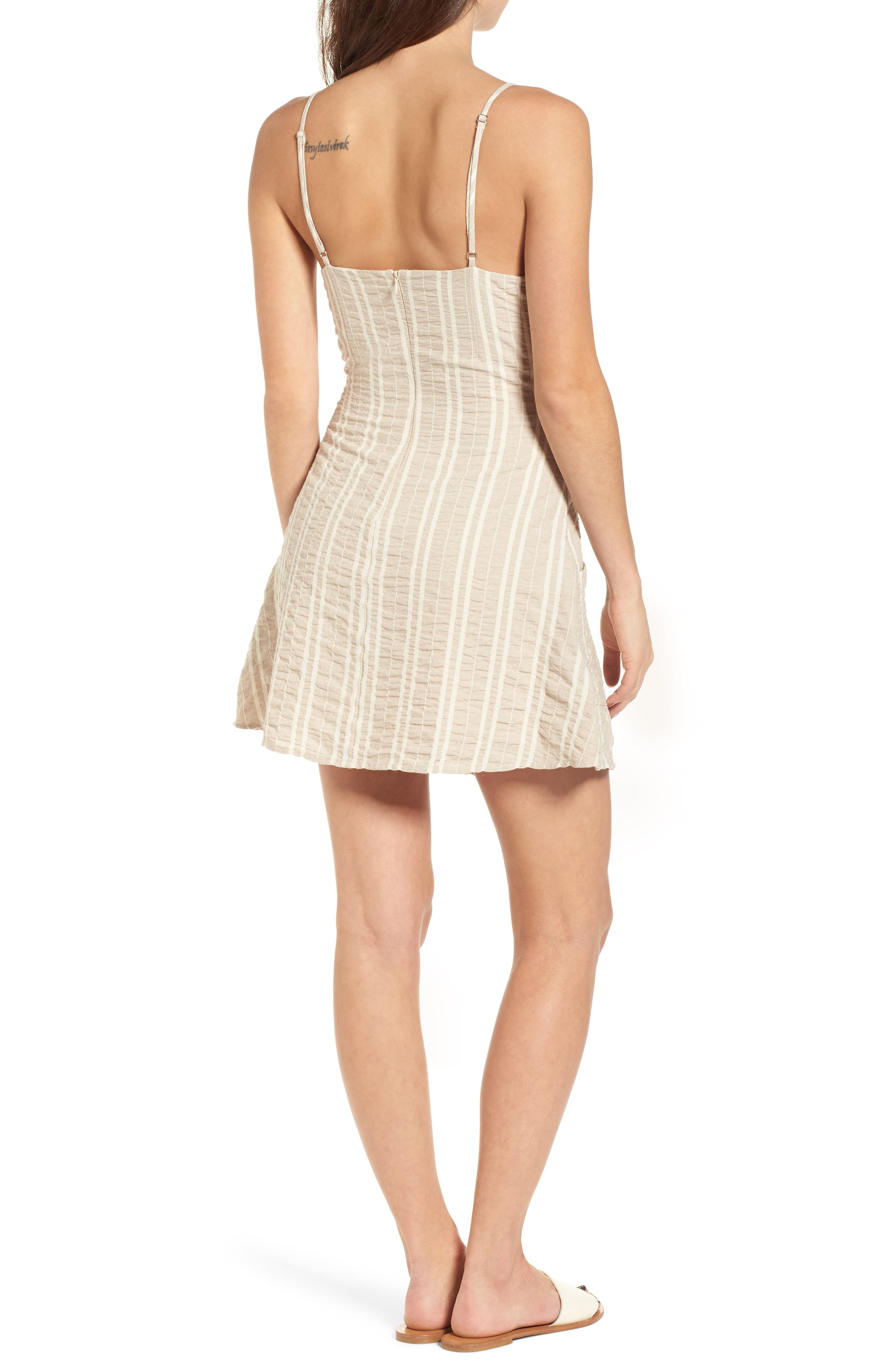 Stella Stripe Dress,                             Alternate thumbnail 3, color,                             Cream