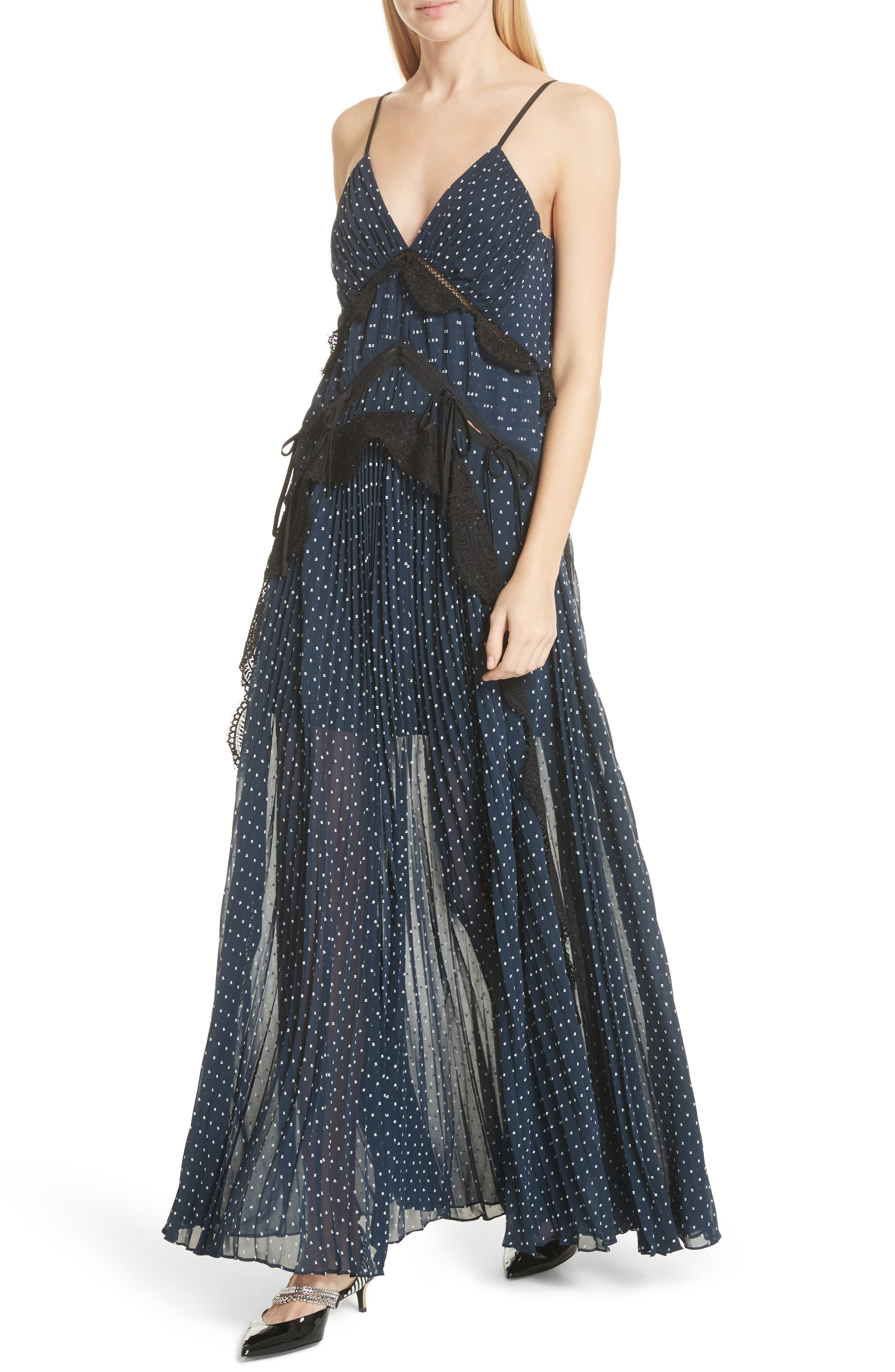 Plumetis Maxi Dress,                             Alternate thumbnail 4, color,                             Navy