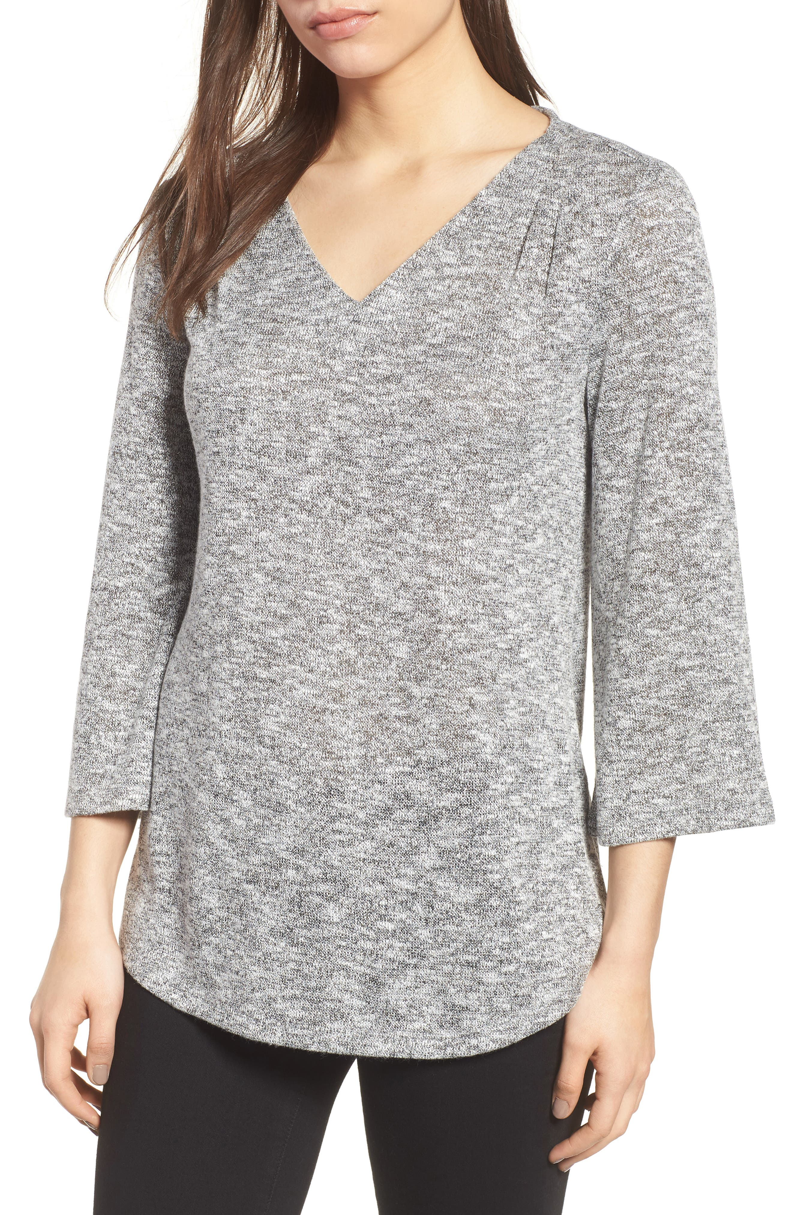 Sparkle Heathered V-Neck Top,                         Main,                         color, 050-Grey Heather