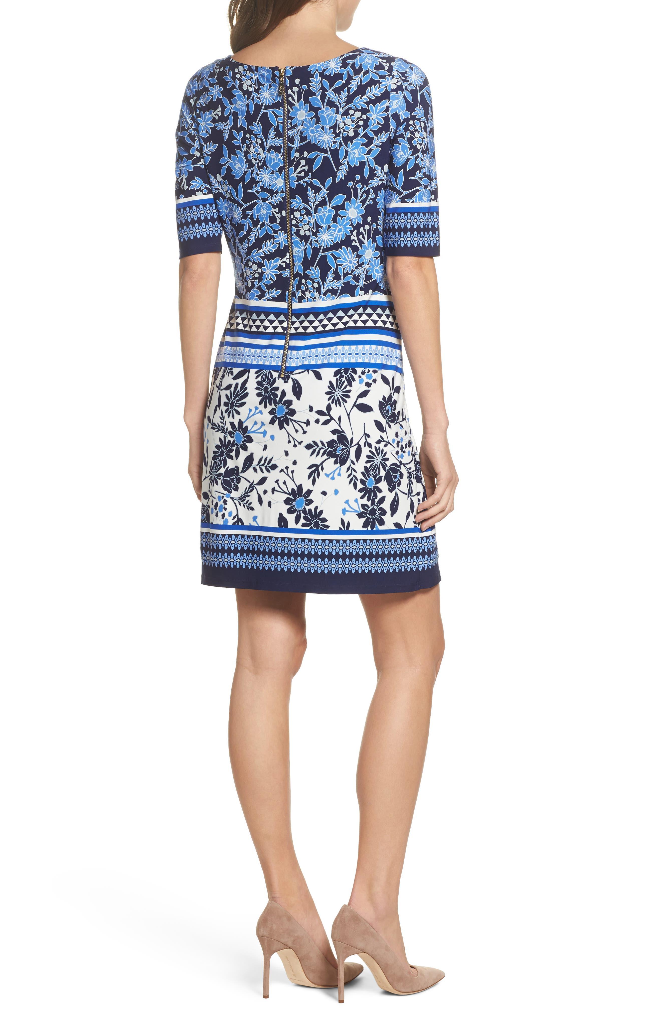 Print Shift Dress,                             Alternate thumbnail 2, color,                             Blue/ Ivory