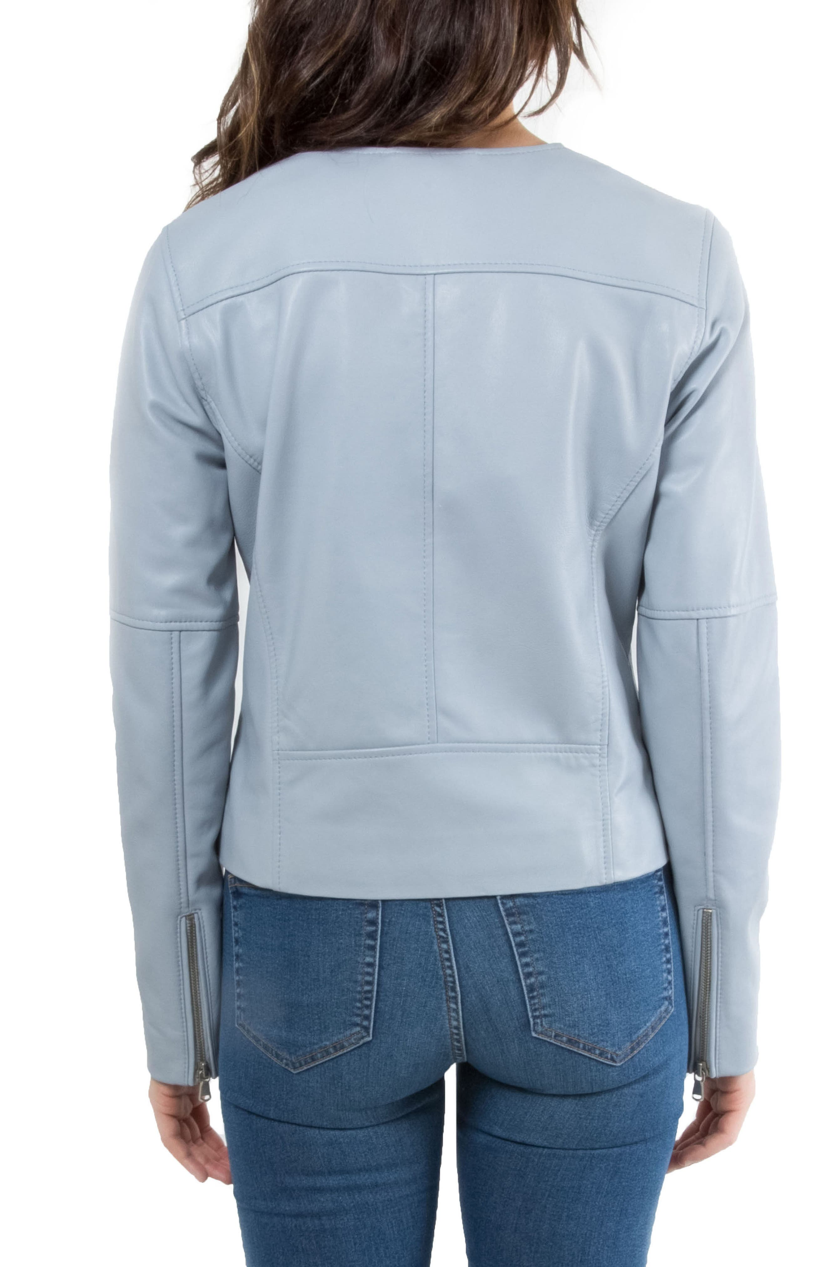 Leather Biker Jacket,                             Alternate thumbnail 2, color,                             Mineral Blue