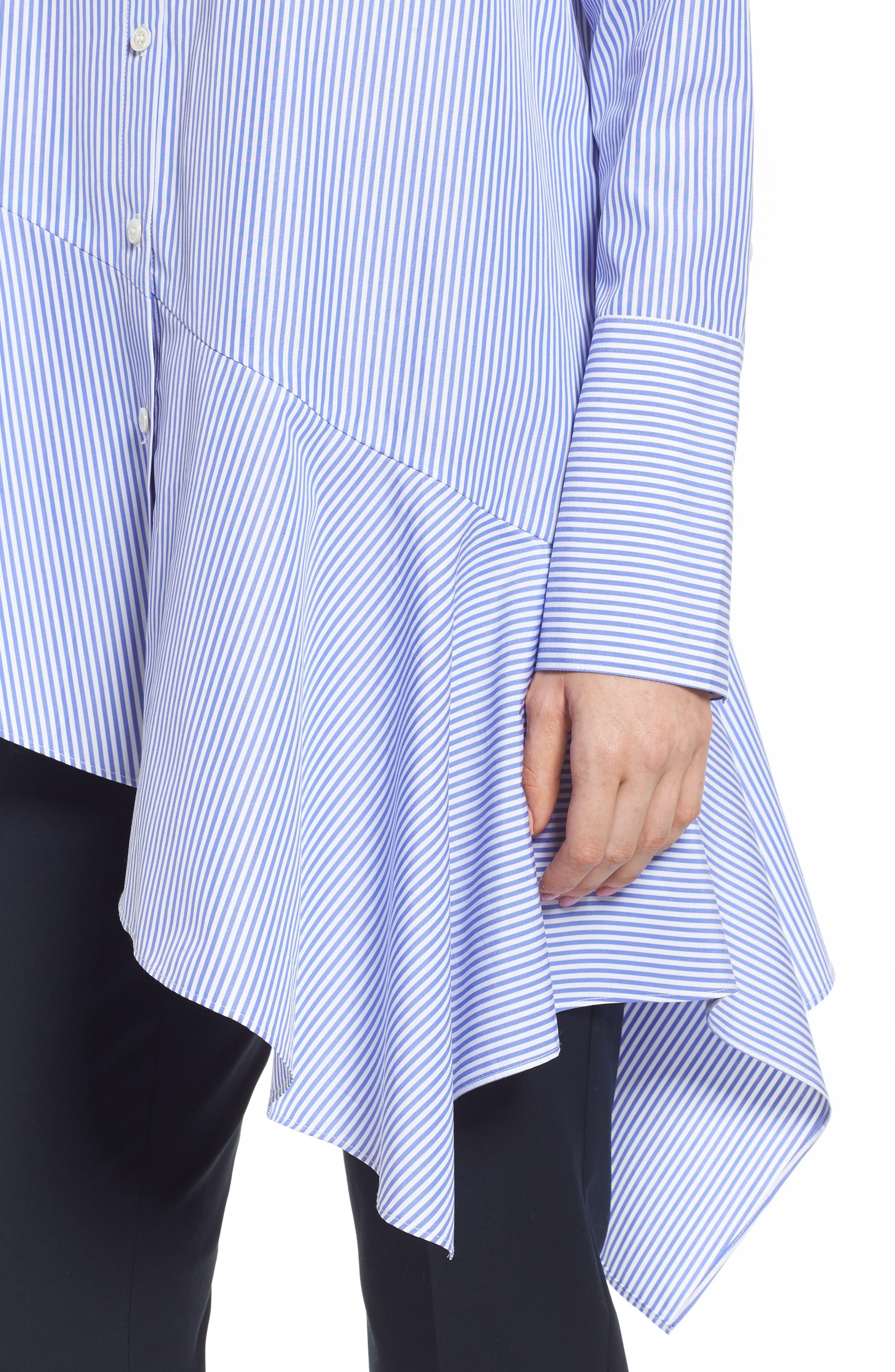 Asymmetrical Stripe Shirt,                             Alternate thumbnail 4, color,                             Blue Denim Stripe