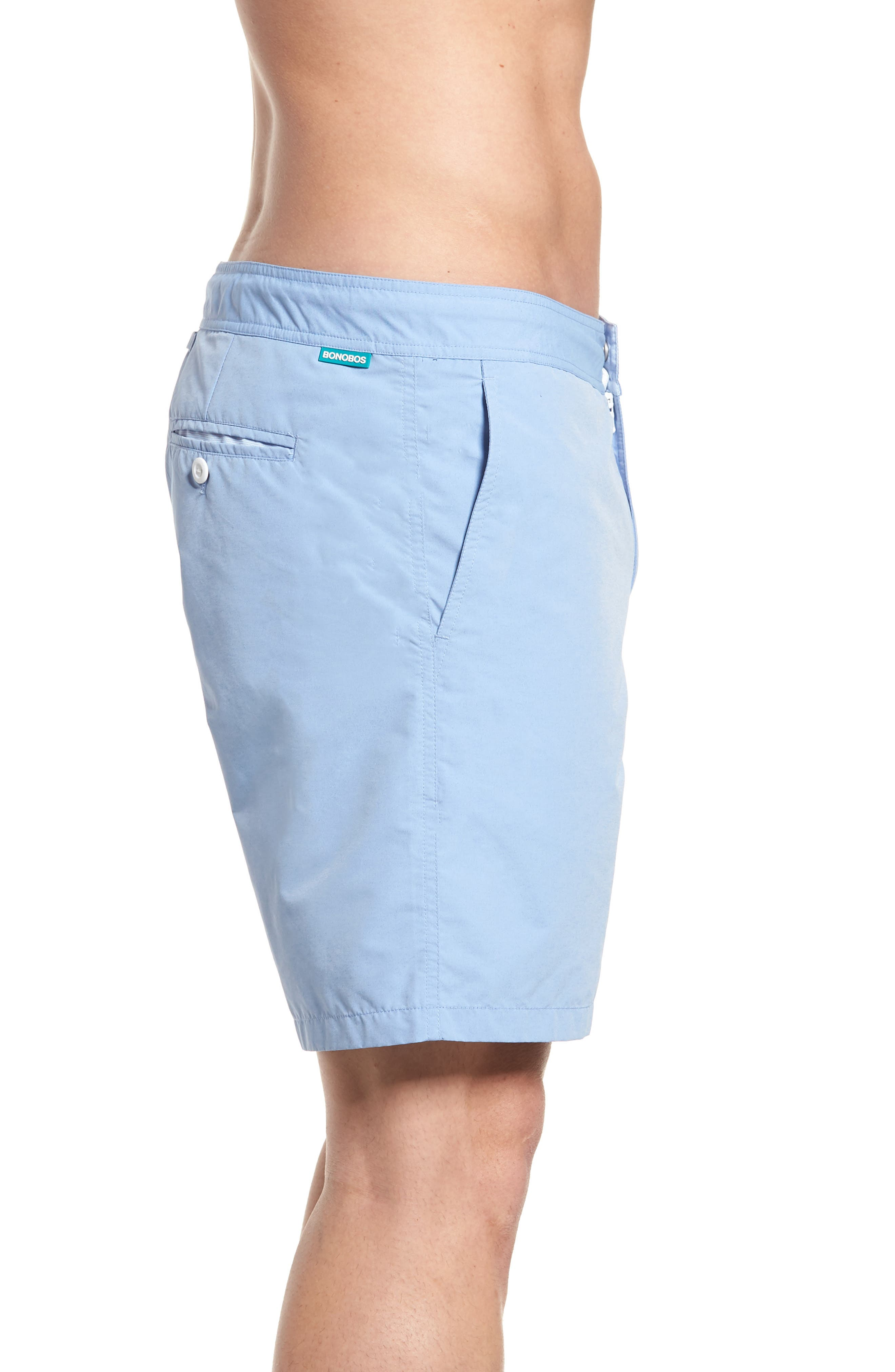 Solid 7-Inch Swim Trunks,                             Alternate thumbnail 3, color,                             Blue Chambray