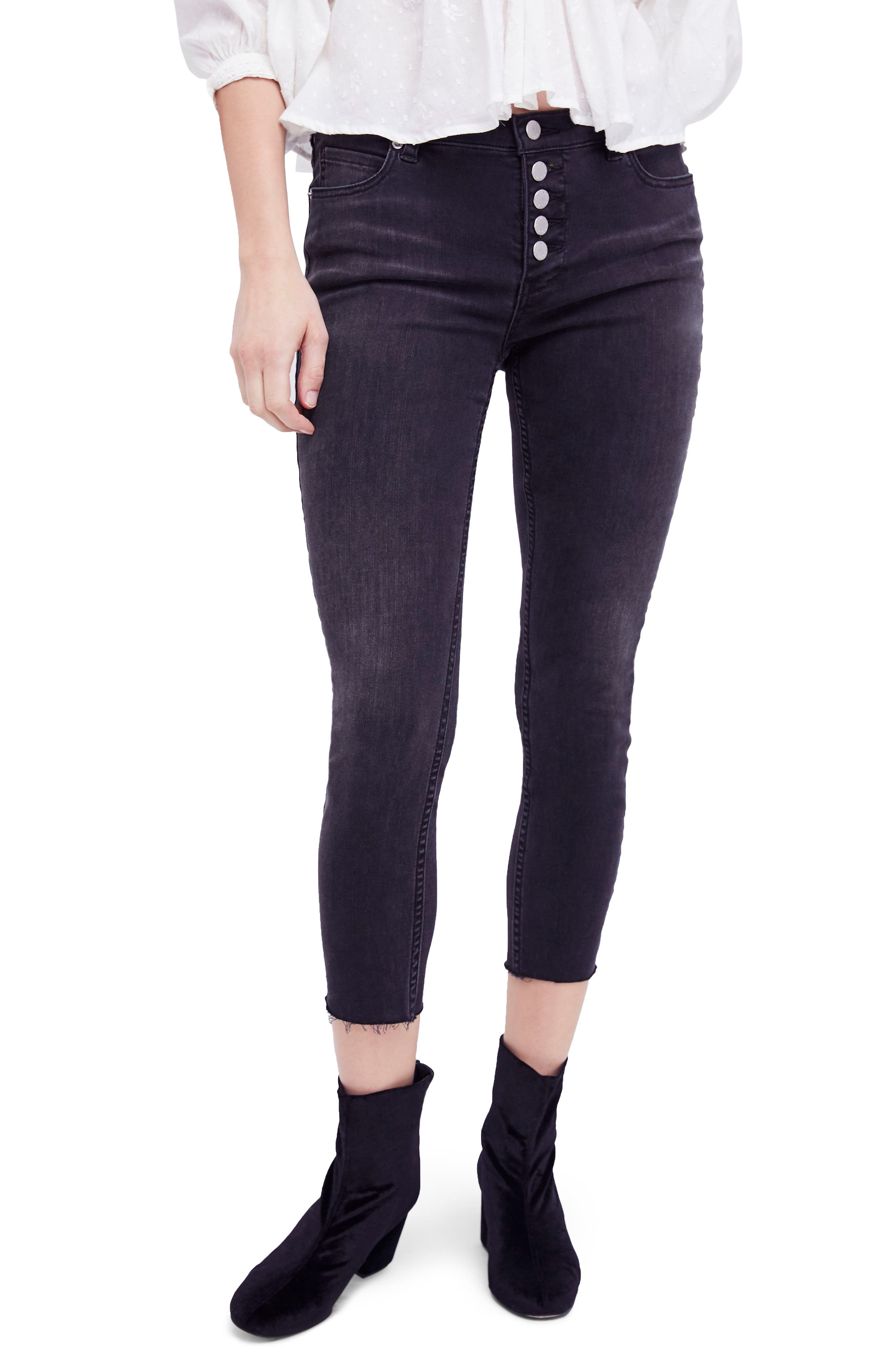 Reagan Crop Skinny Jeans,                             Main thumbnail 1, color,                             Black