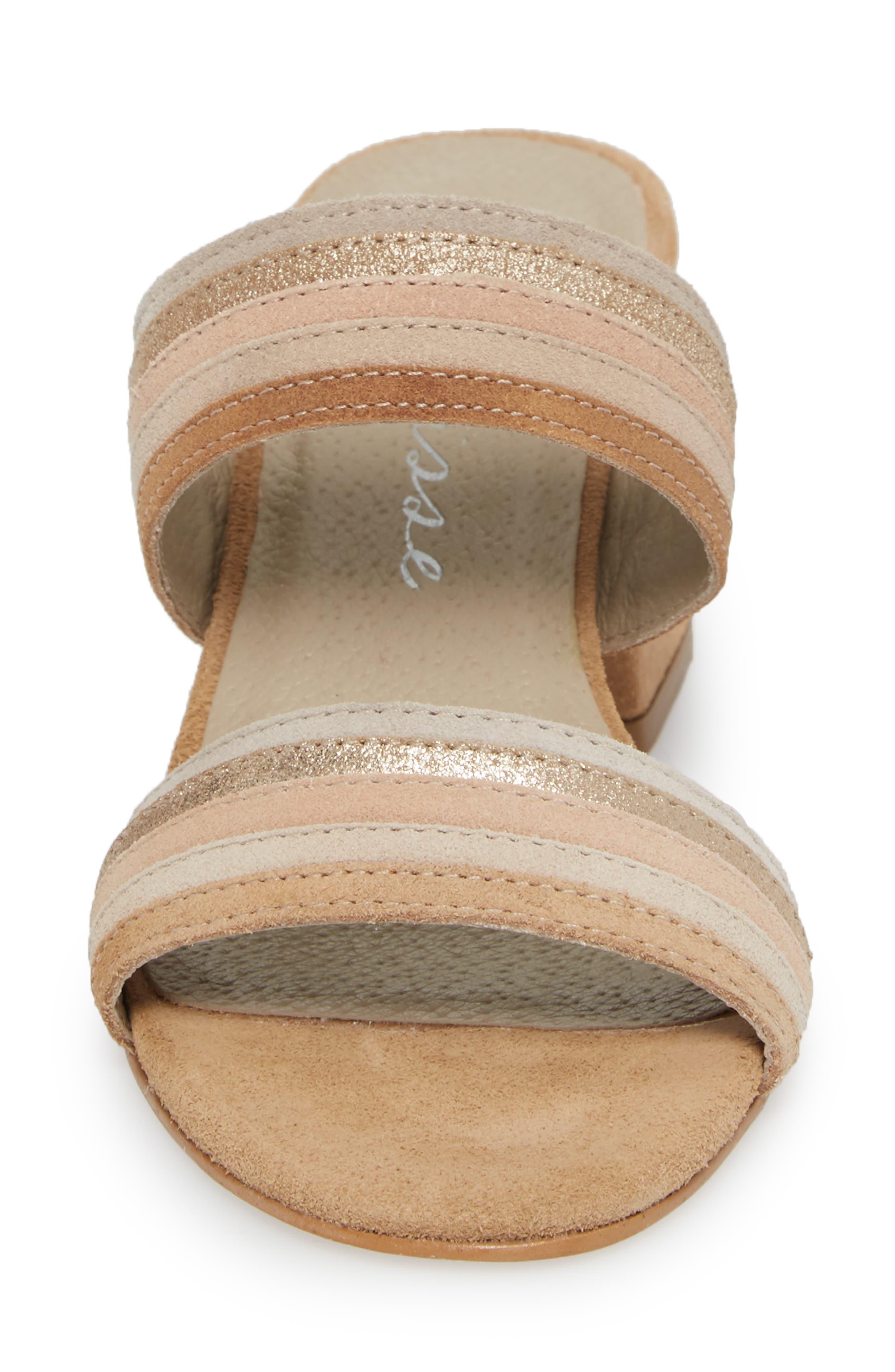 Bonita Slide Sandal,                             Alternate thumbnail 4, color,                             Natural Suede