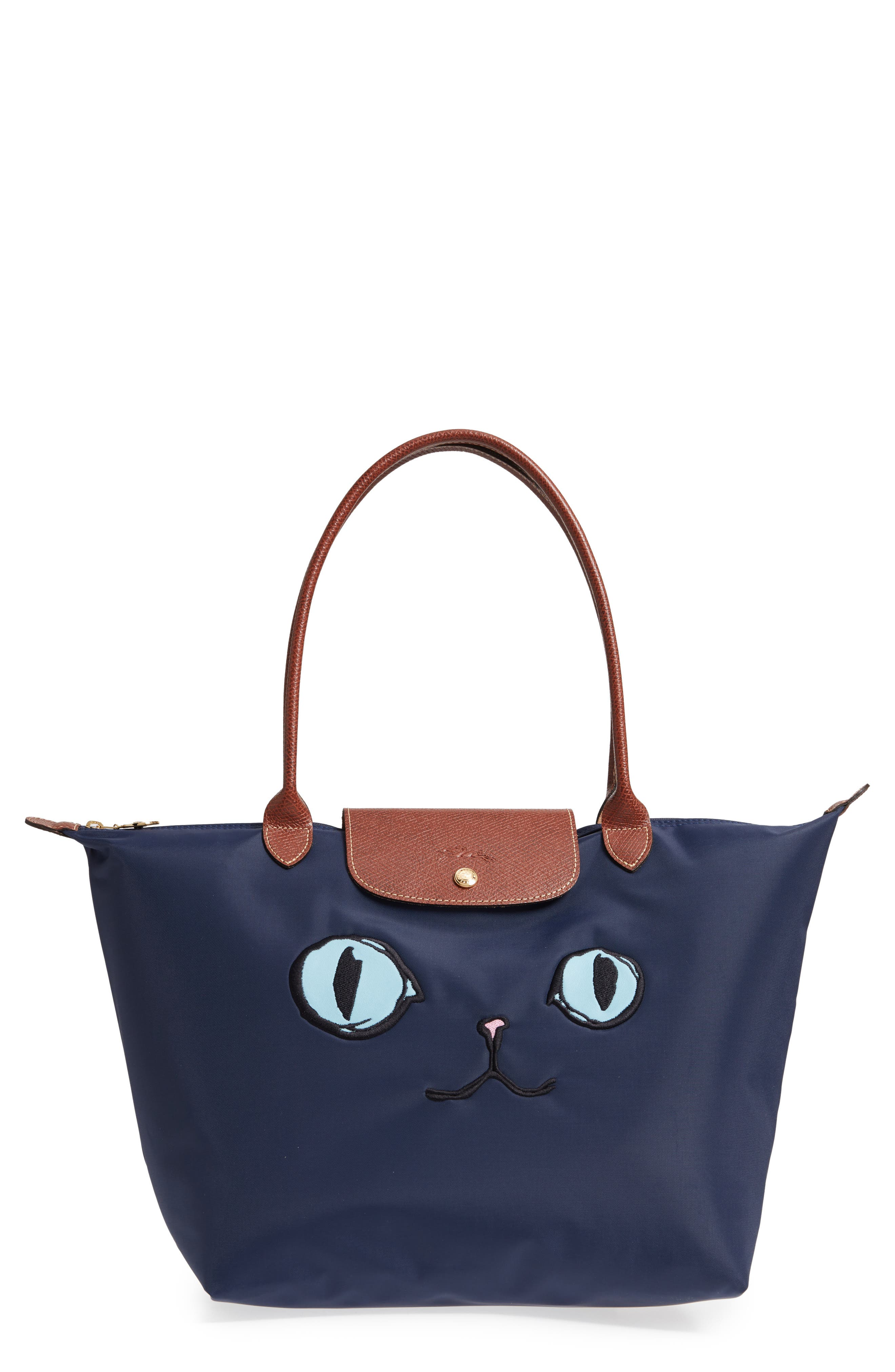 Gallery Source · Longchamp Le Pliage Miaou Cat Large Shoulder Tote Bag In  Blue 9359a21245498