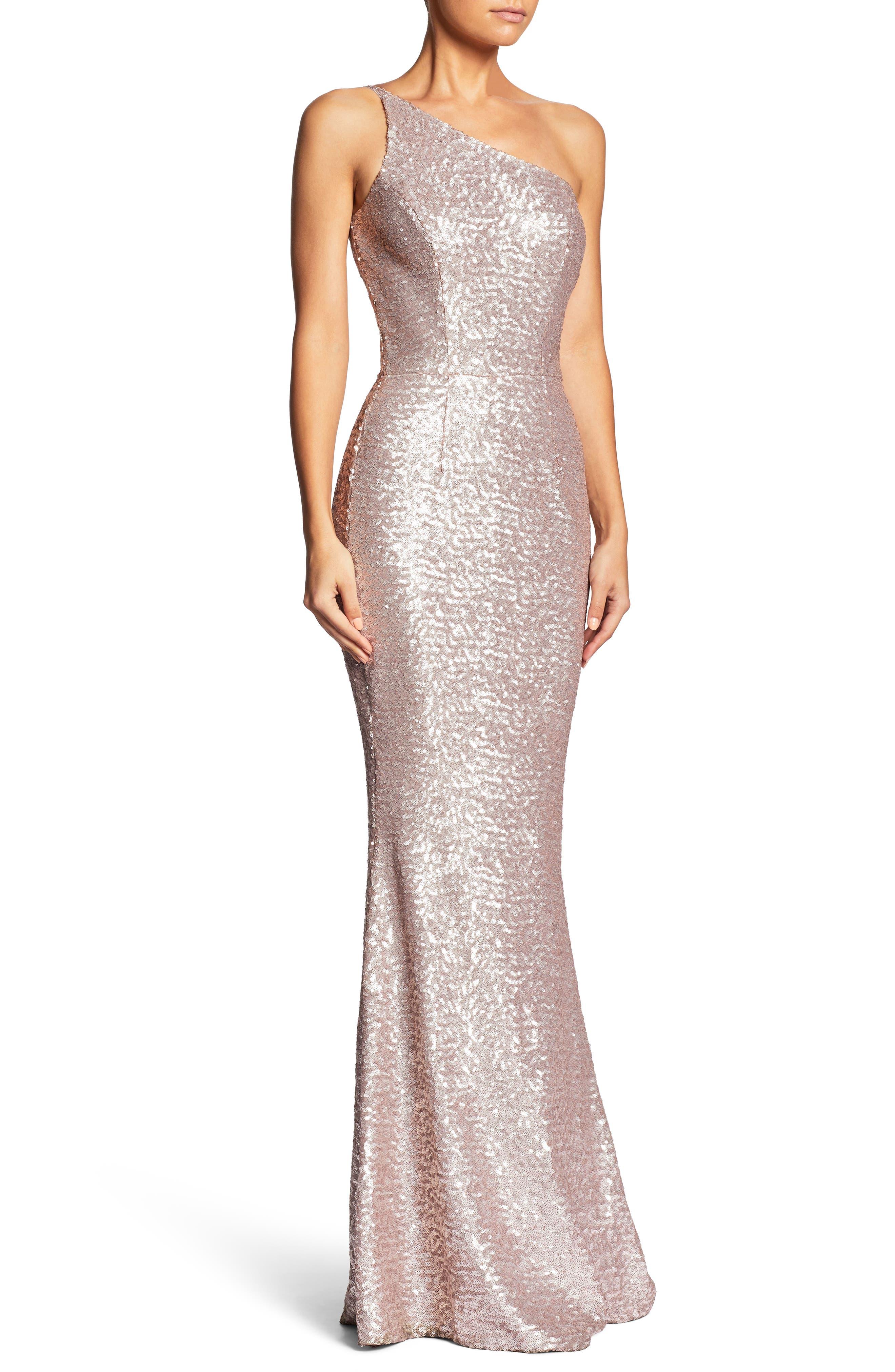 Bella One-Shoulder Mermaid Gown,                             Alternate thumbnail 4, color,                             Ice Pink
