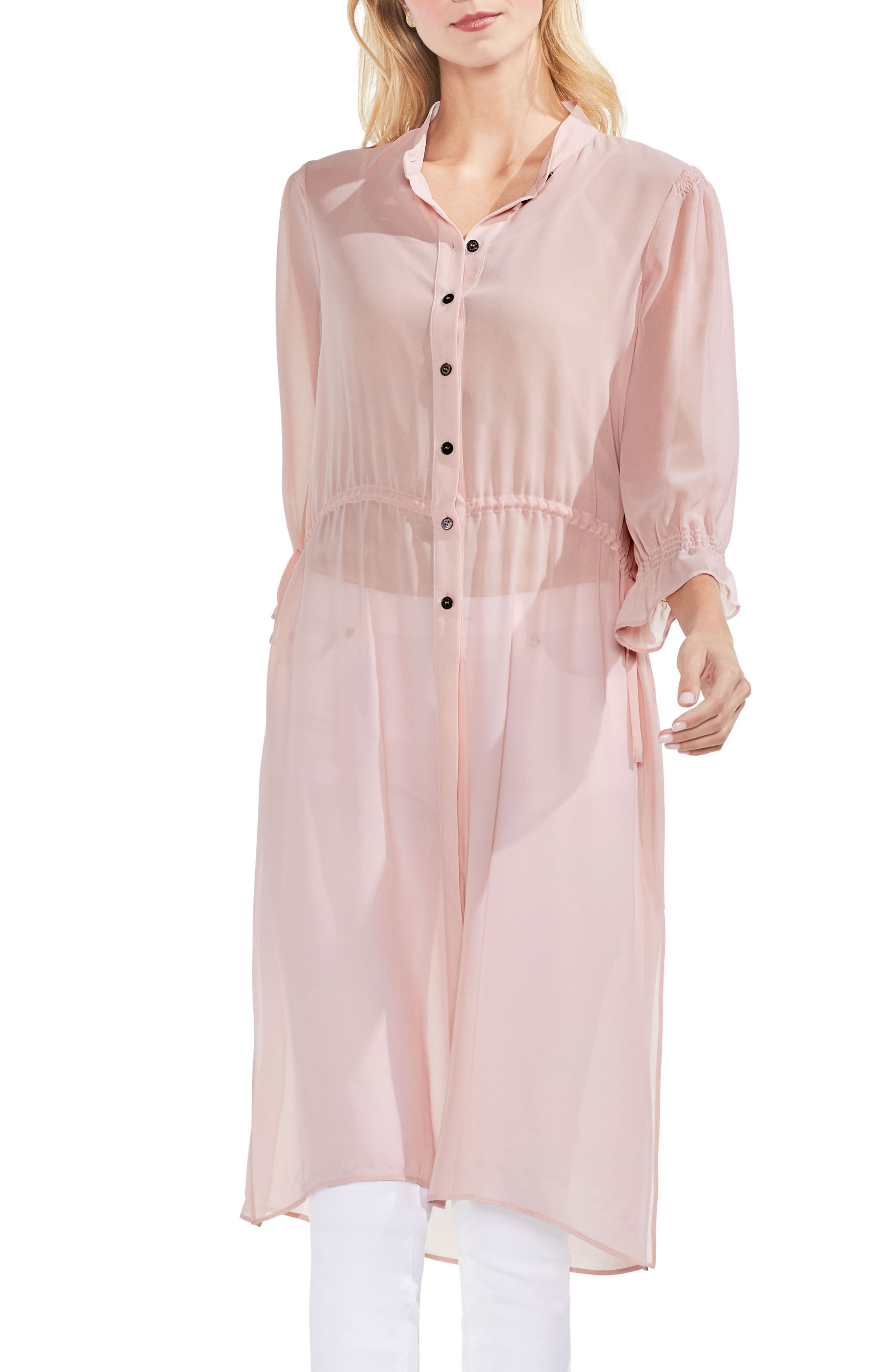 Chiffon Side Tie Tunic,                             Main thumbnail 1, color,                             Wild Rose