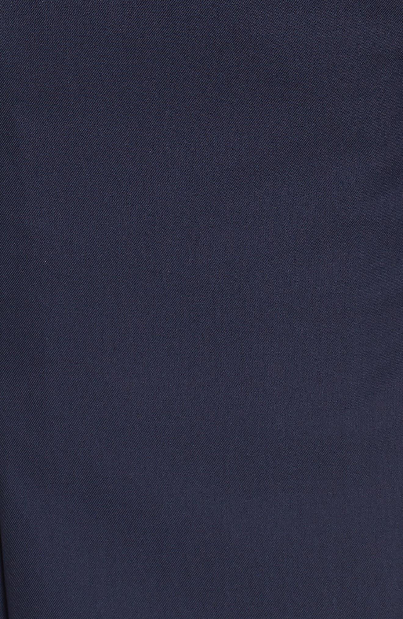 Blouson Sleeve A-Line Twill Dress,                             Alternate thumbnail 5, color,                             Navy Night