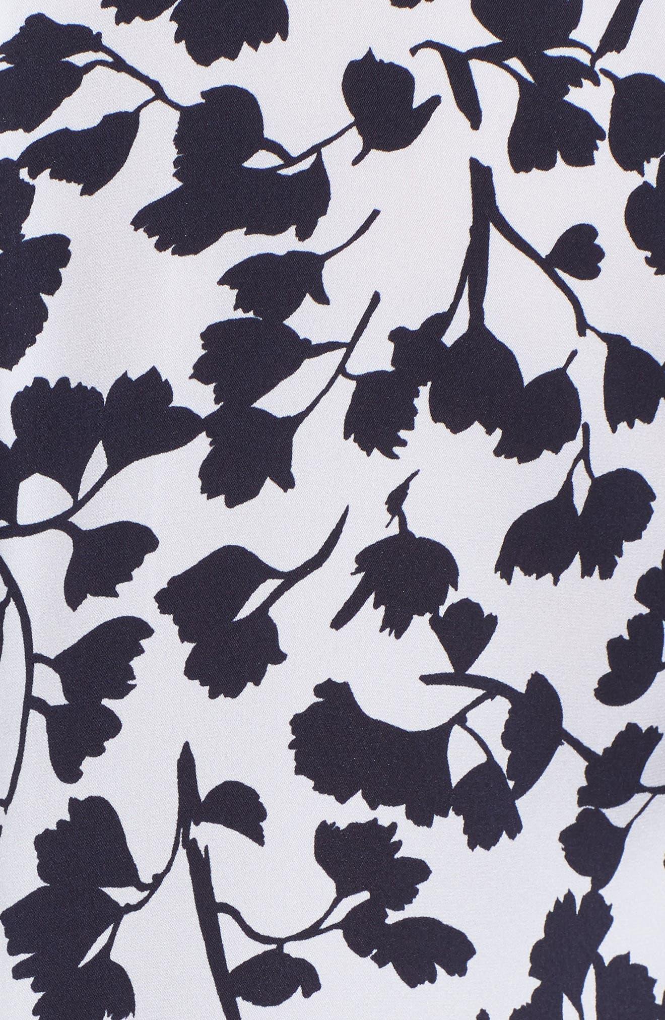 Draped Sleeve Stretch Silk Top,                             Alternate thumbnail 6, color,                             White Gingko Leaf