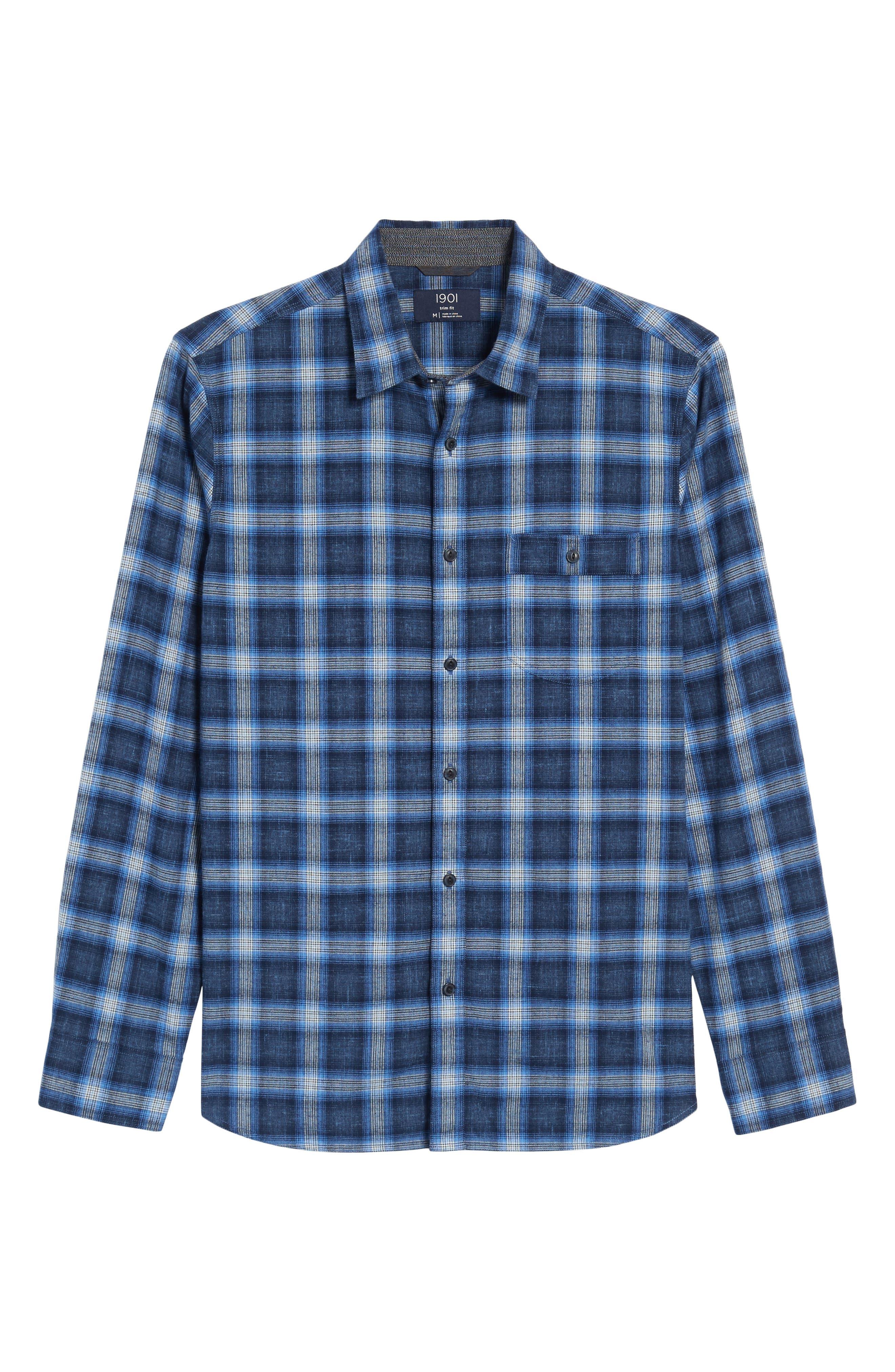 Trim Fit Plaid Sport Shirt,                             Alternate thumbnail 6, color,                             Black Blue Homespun Plaid