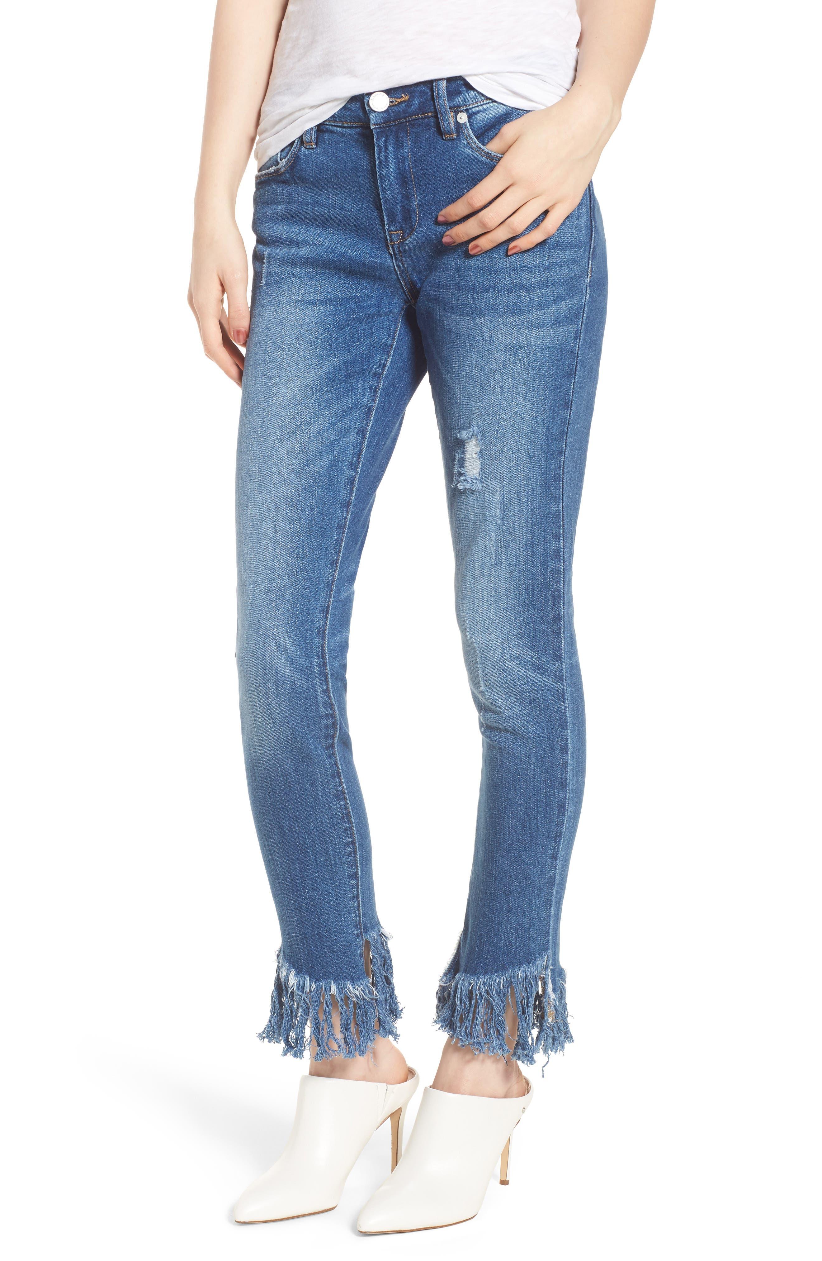 Low Key Judging Fray Hem Skinny Jeans,                         Main,                         color, Blue
