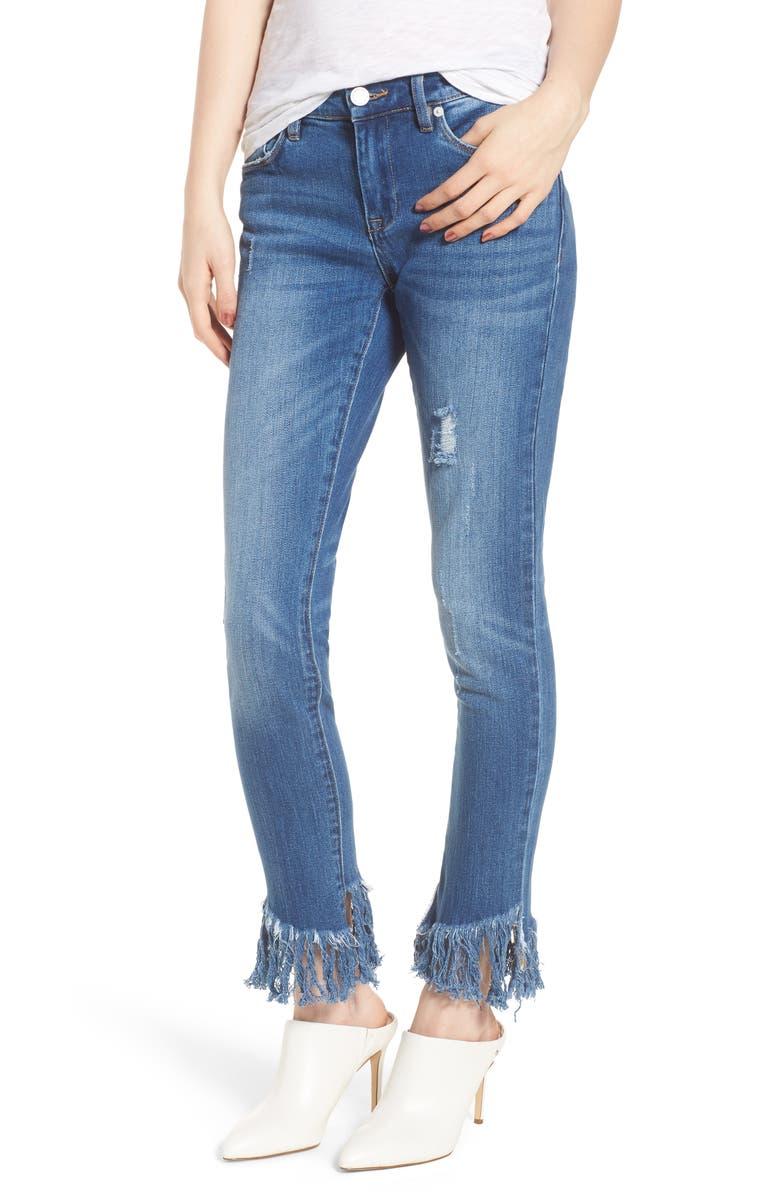 Low Key Judging Fray Hem Skinny Jeans