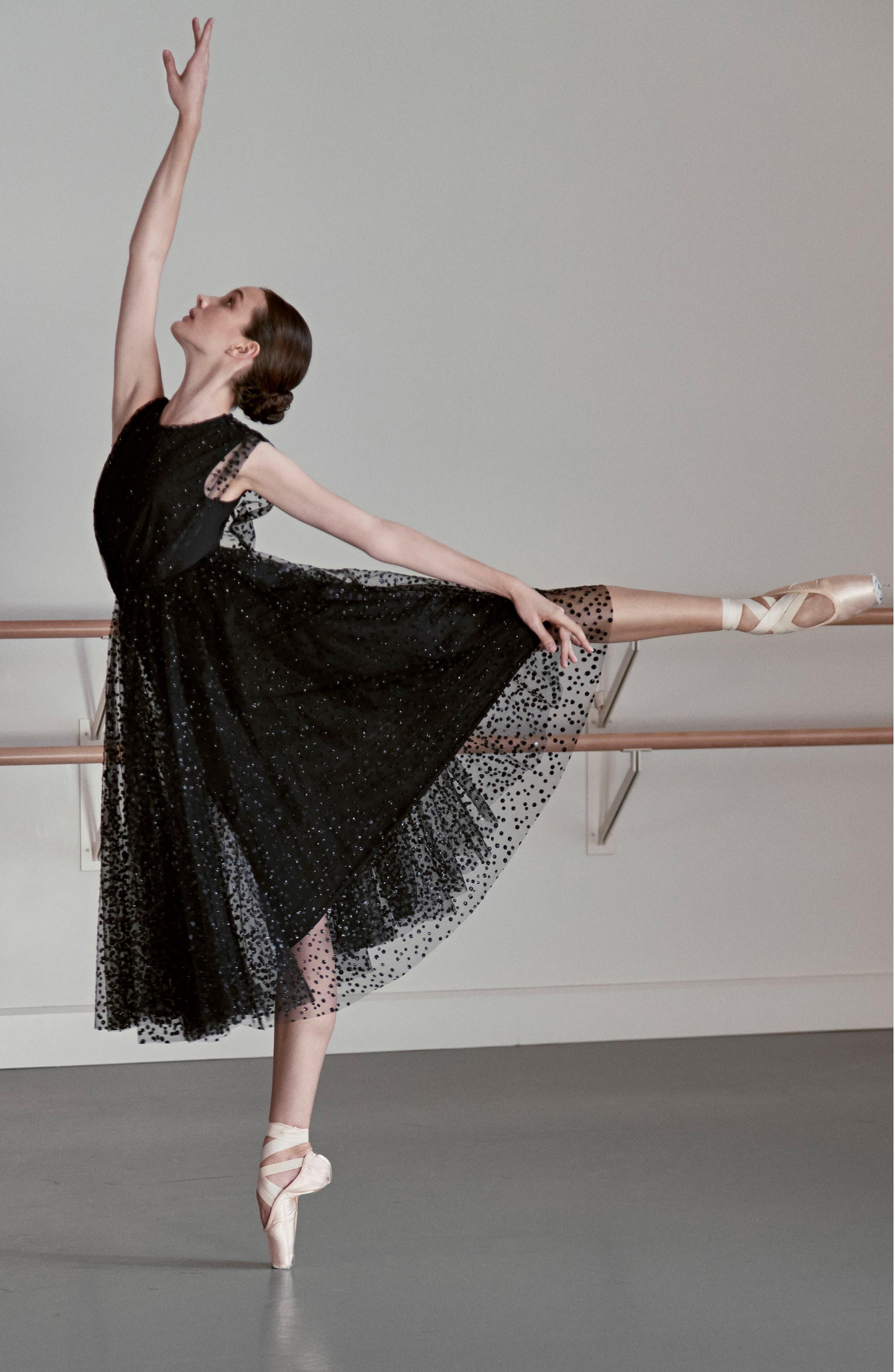Sparkle Dot Tulle Midi Dress,                             Alternate thumbnail 7, color,                             Black