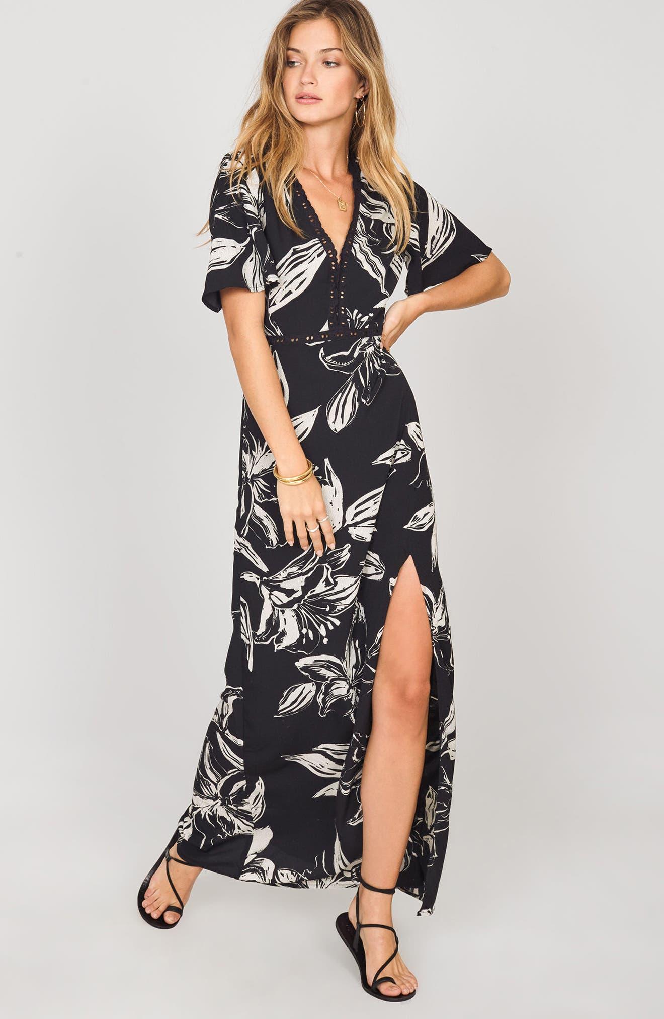 Seaside Floral Print Maxi Dress,                             Alternate thumbnail 2, color,                             Black Sands