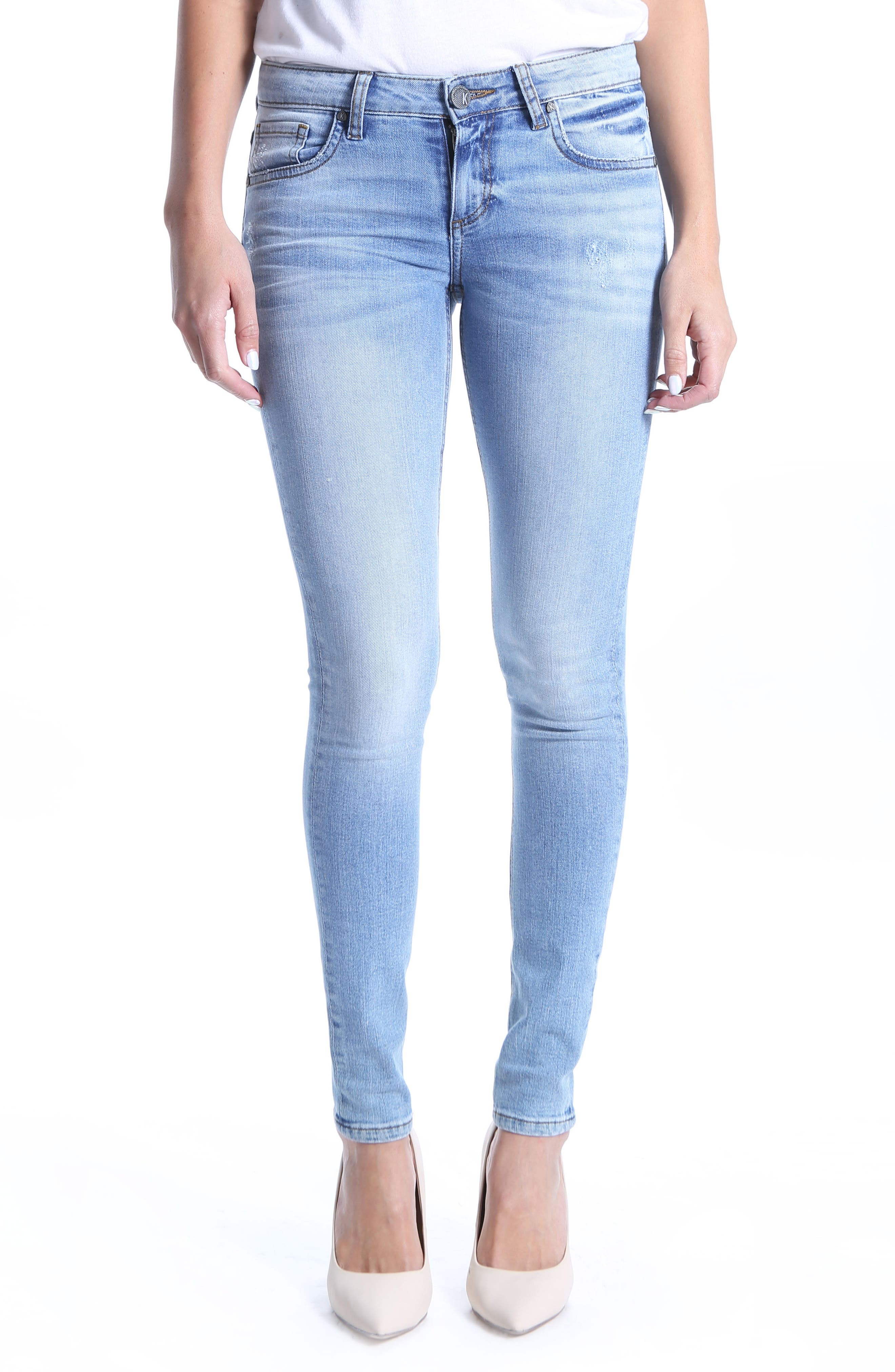Mia Toothpick Skinny Distressed Jeans,                             Main thumbnail 1, color,                             Confirmed