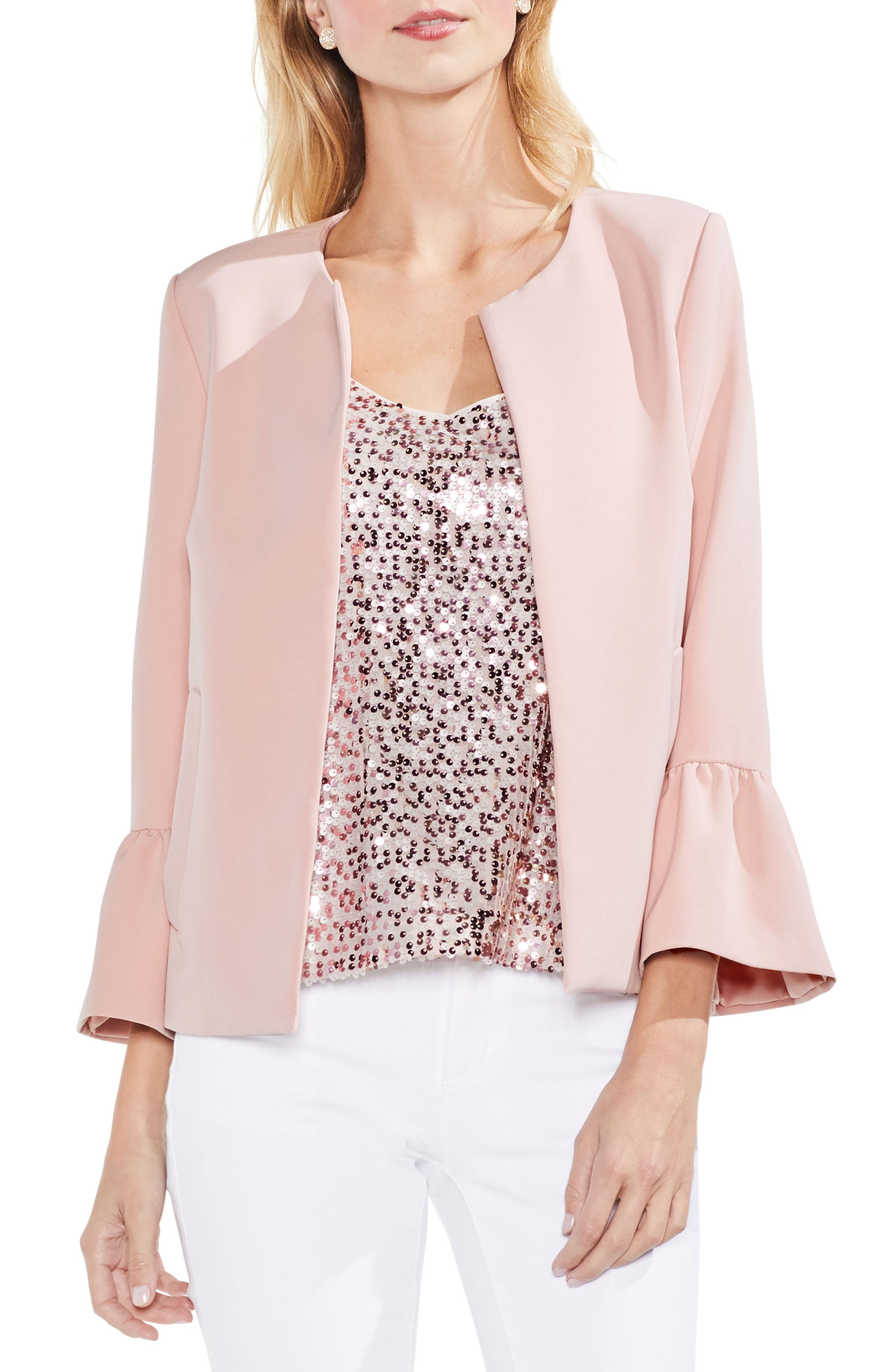 Ruffle Sleeve Open Front Jacket,                             Main thumbnail 1, color,                             Wild Rose