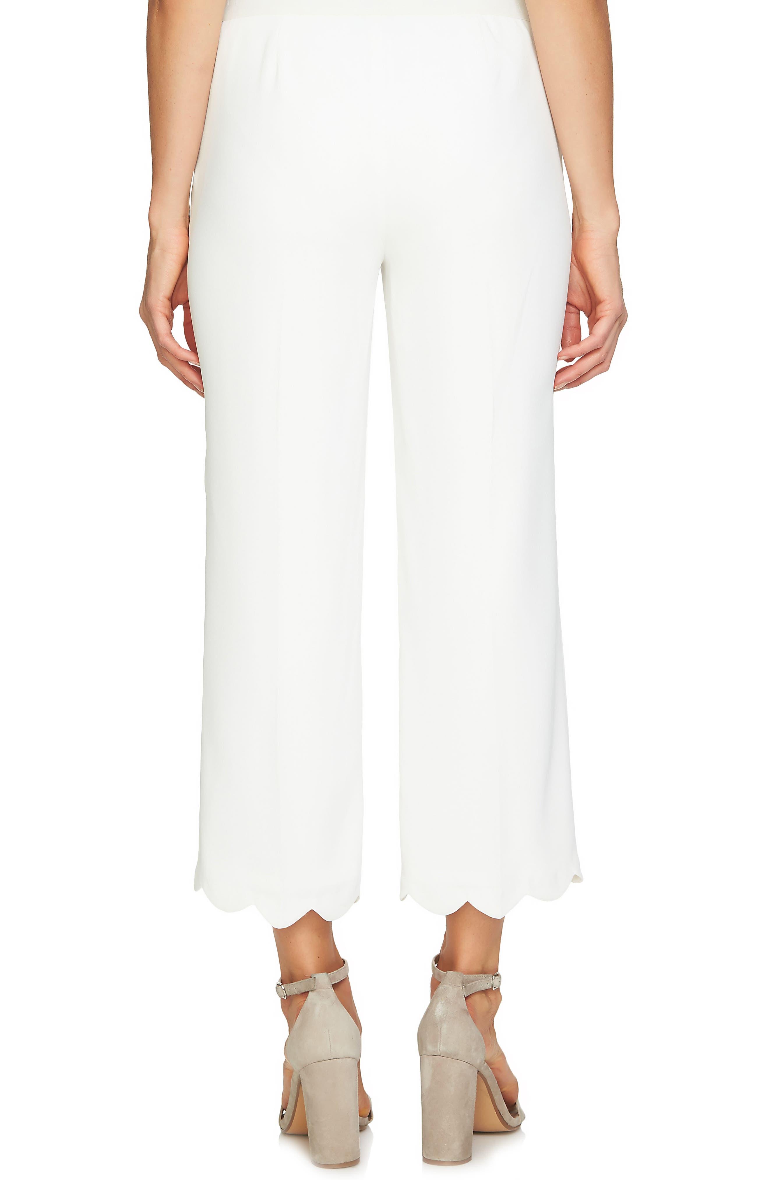 Scalloped Crepe Crop Pants,                             Alternate thumbnail 2, color,                             Antique White