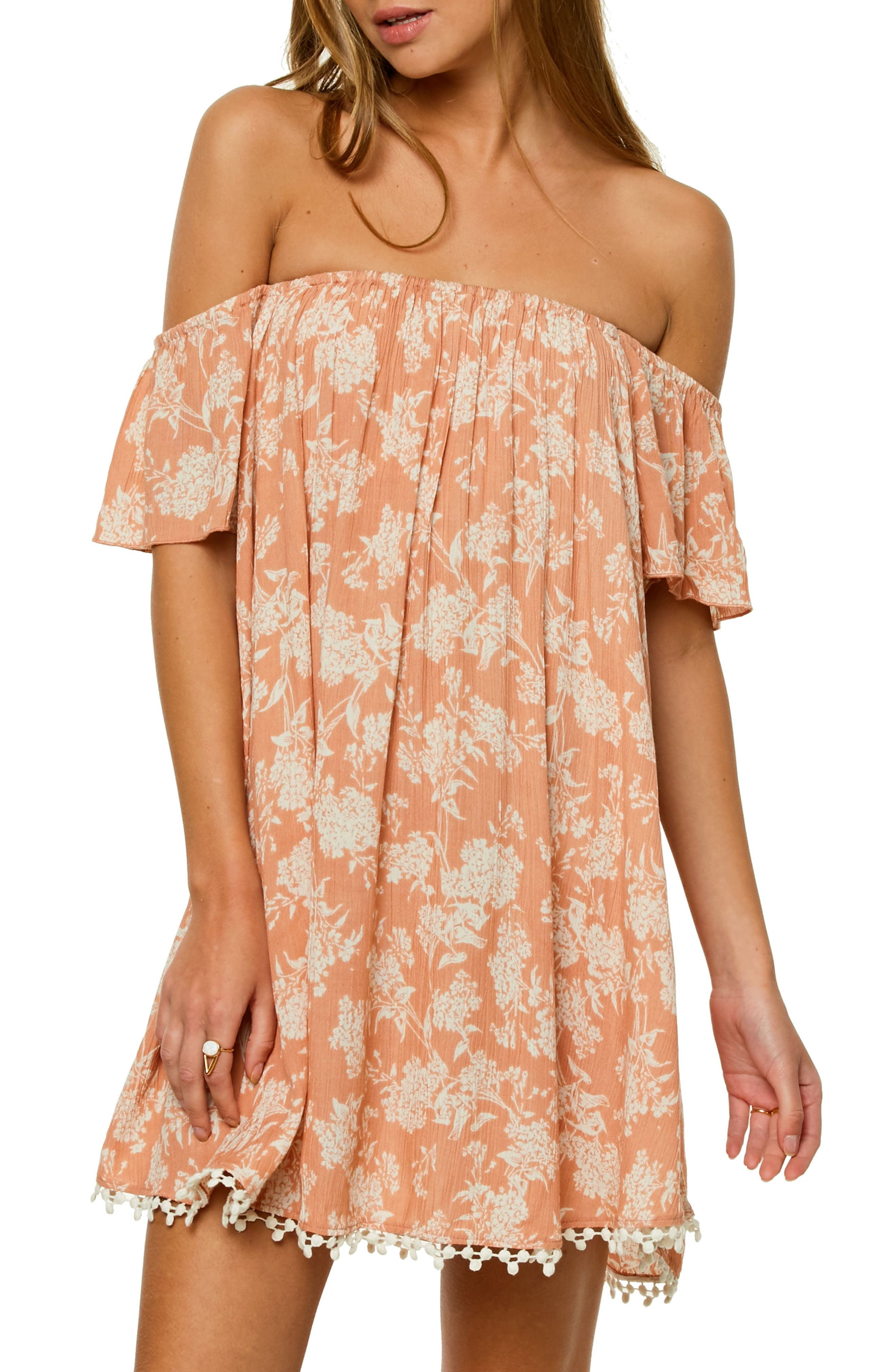 Kinsey Off the Shoulder Dress,                         Main,                         color, Caf Creme