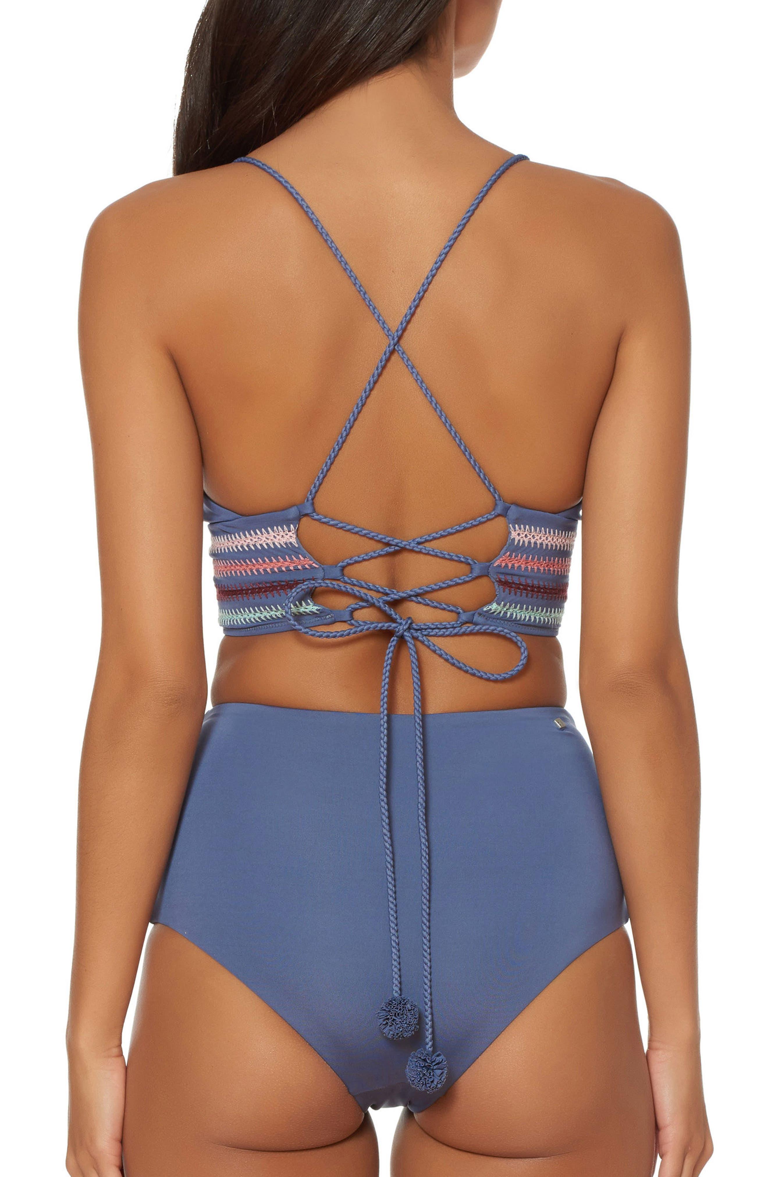 Embroidery Long Line Bikini Top,                             Alternate thumbnail 2, color,                             Pigeon