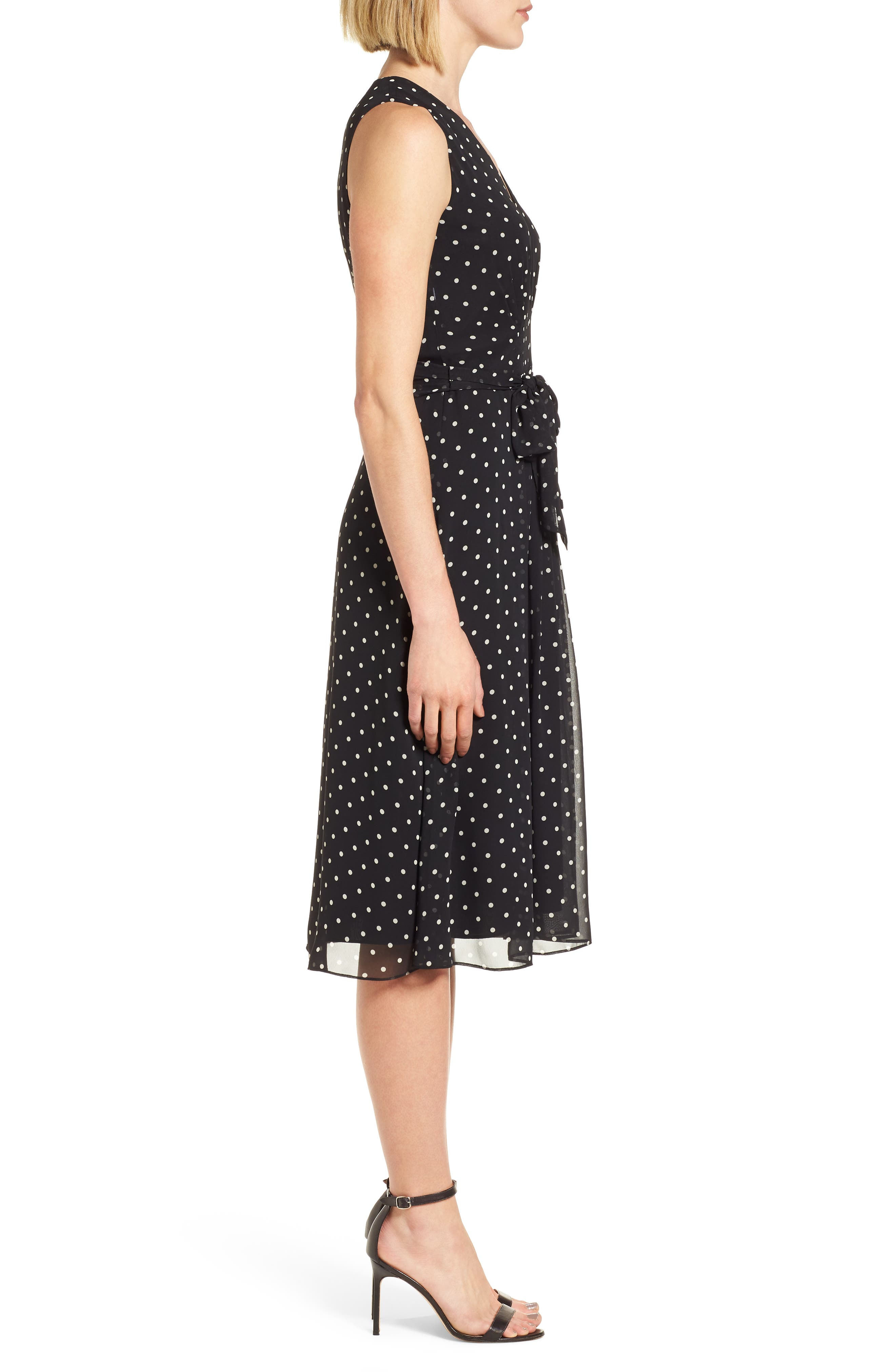 New York Dotted Chiffon Dress,                             Alternate thumbnail 3, color,                             Black/ White