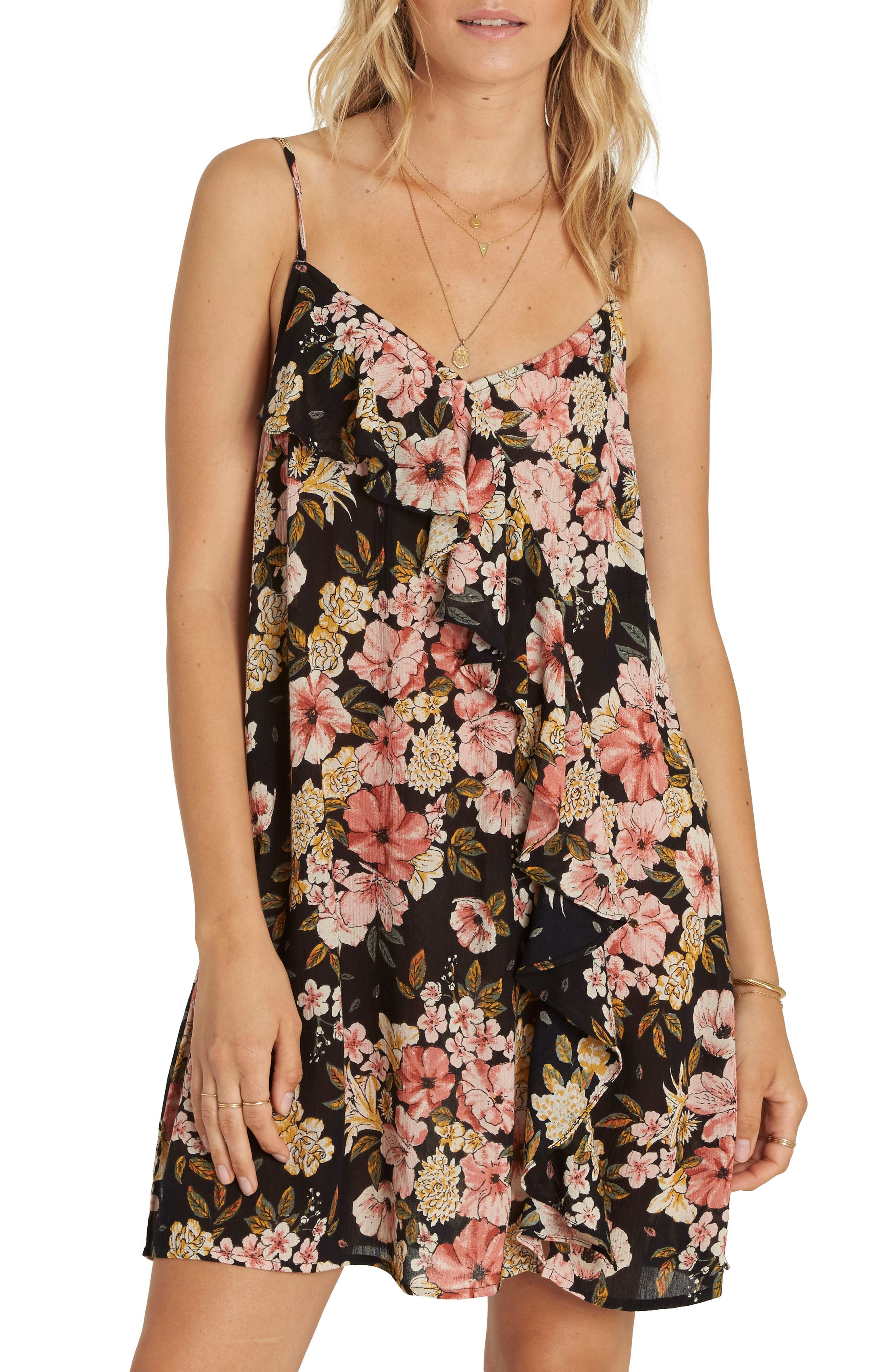 Glass Water Floral Print Ruffle Detail Dress,                         Main,                         color, Black