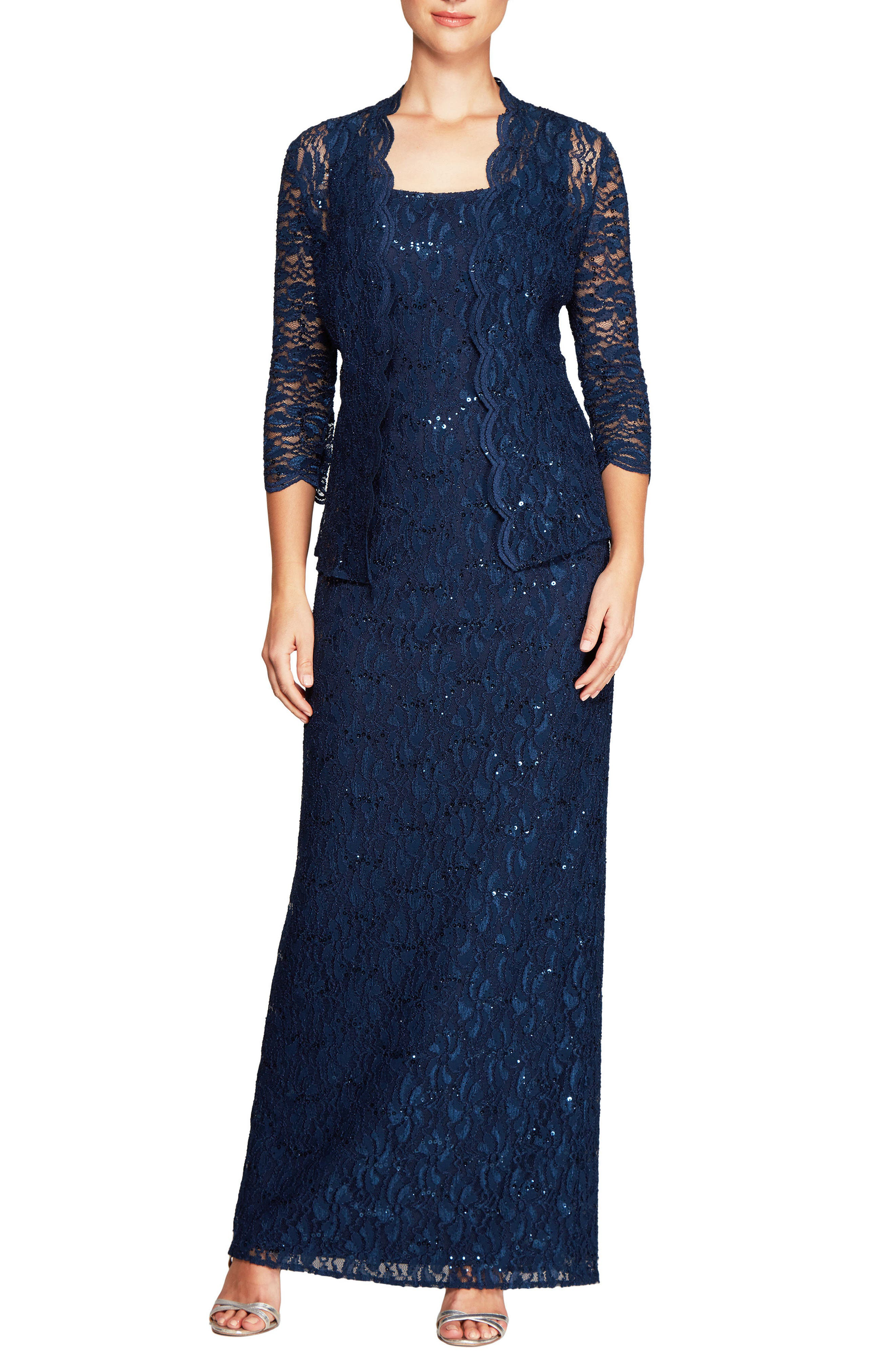 Lace Column Gown with Jacket,                         Main,                         color, Navy