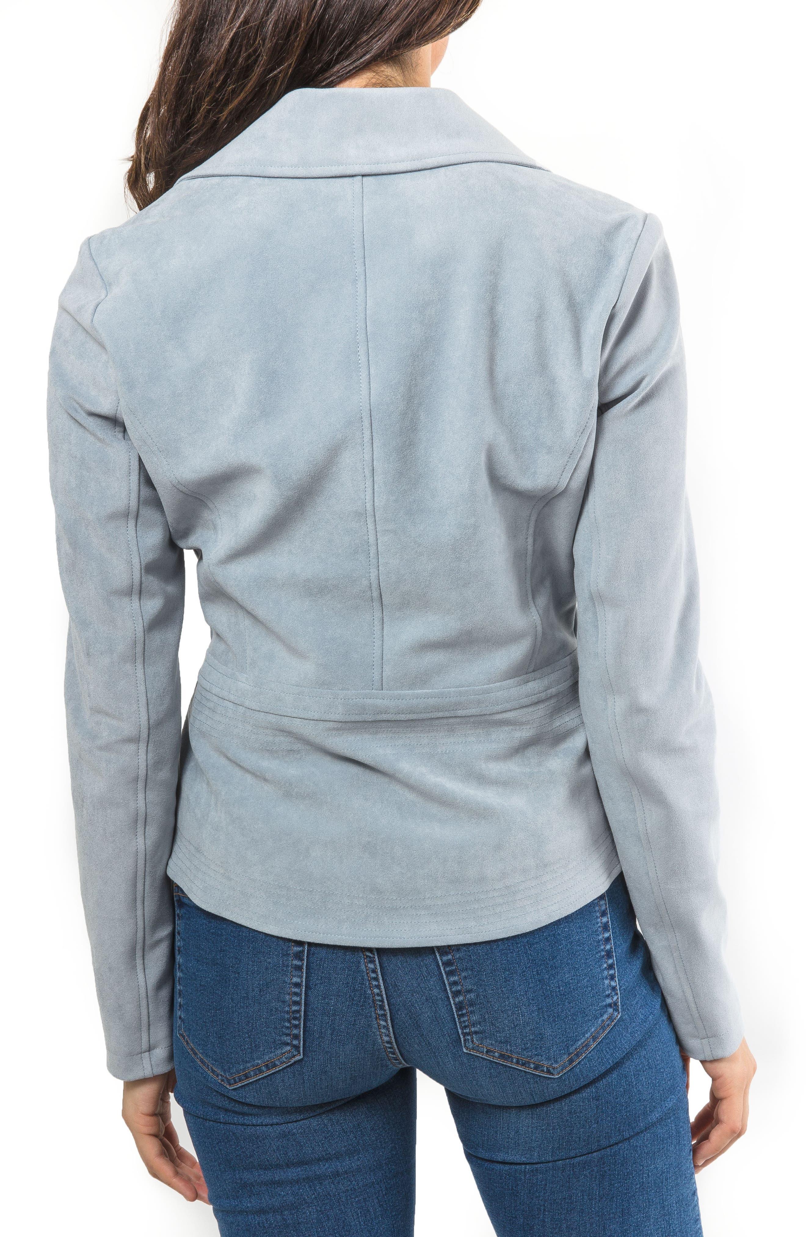 Faux Suede Biker Jacket,                             Alternate thumbnail 2, color,                             Mineral Blue