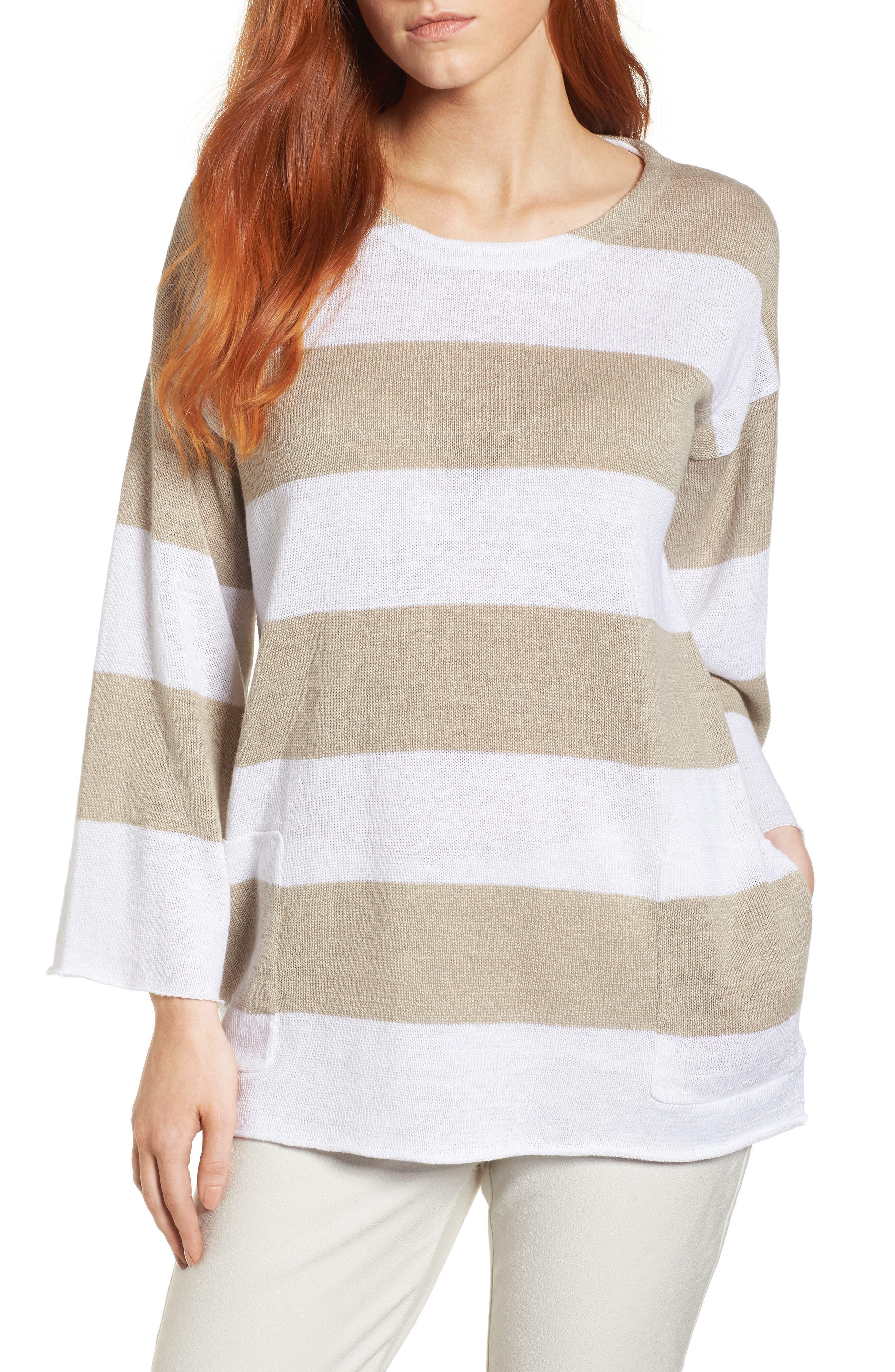 Stripe Organic Linen Knit A-Line Top,                             Main thumbnail 1, color,                             White/ Natural