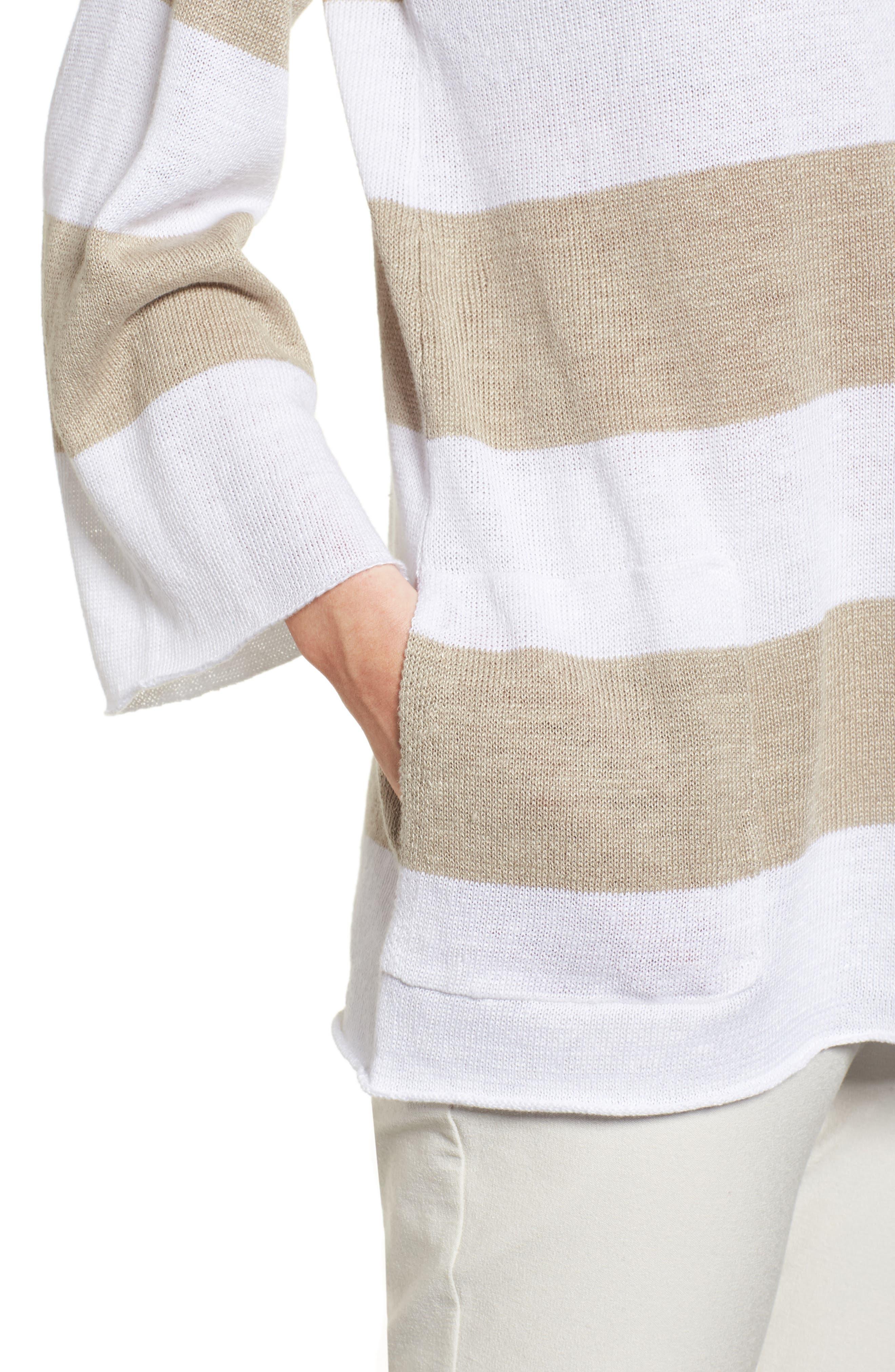 Stripe Organic Linen Knit A-Line Top,                             Alternate thumbnail 4, color,                             White/ Natural