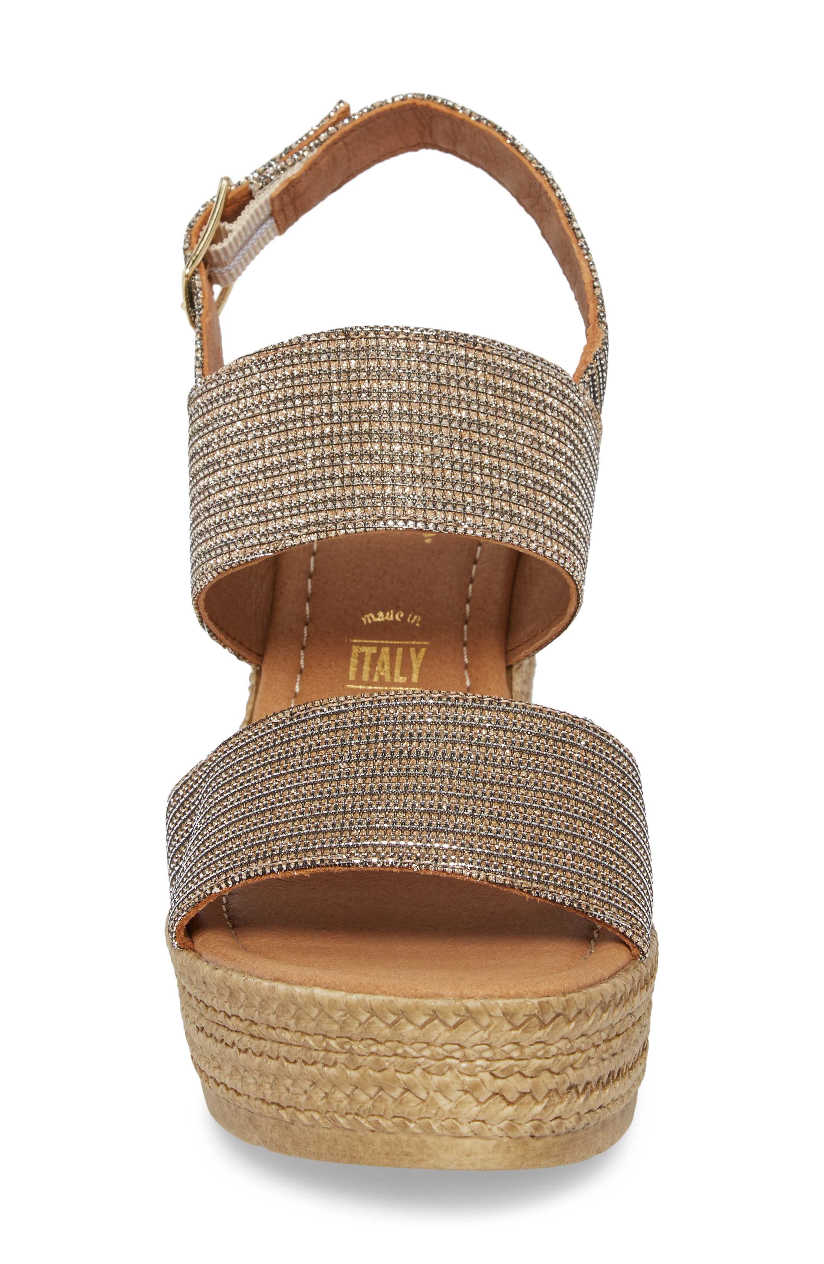 Downtime Wedge Sandal,                             Alternate thumbnail 4, color,                             Bronze Metallic Fabric