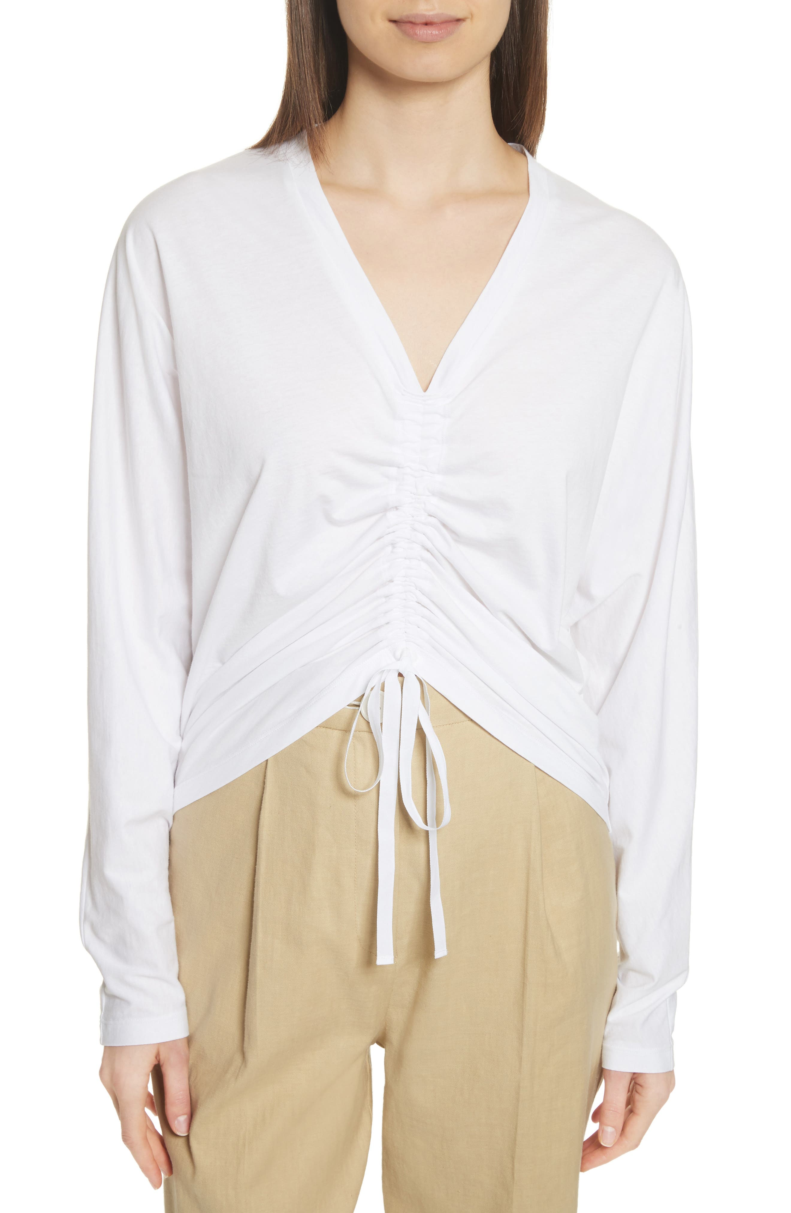 Ruched Front Tee,                         Main,                         color, White