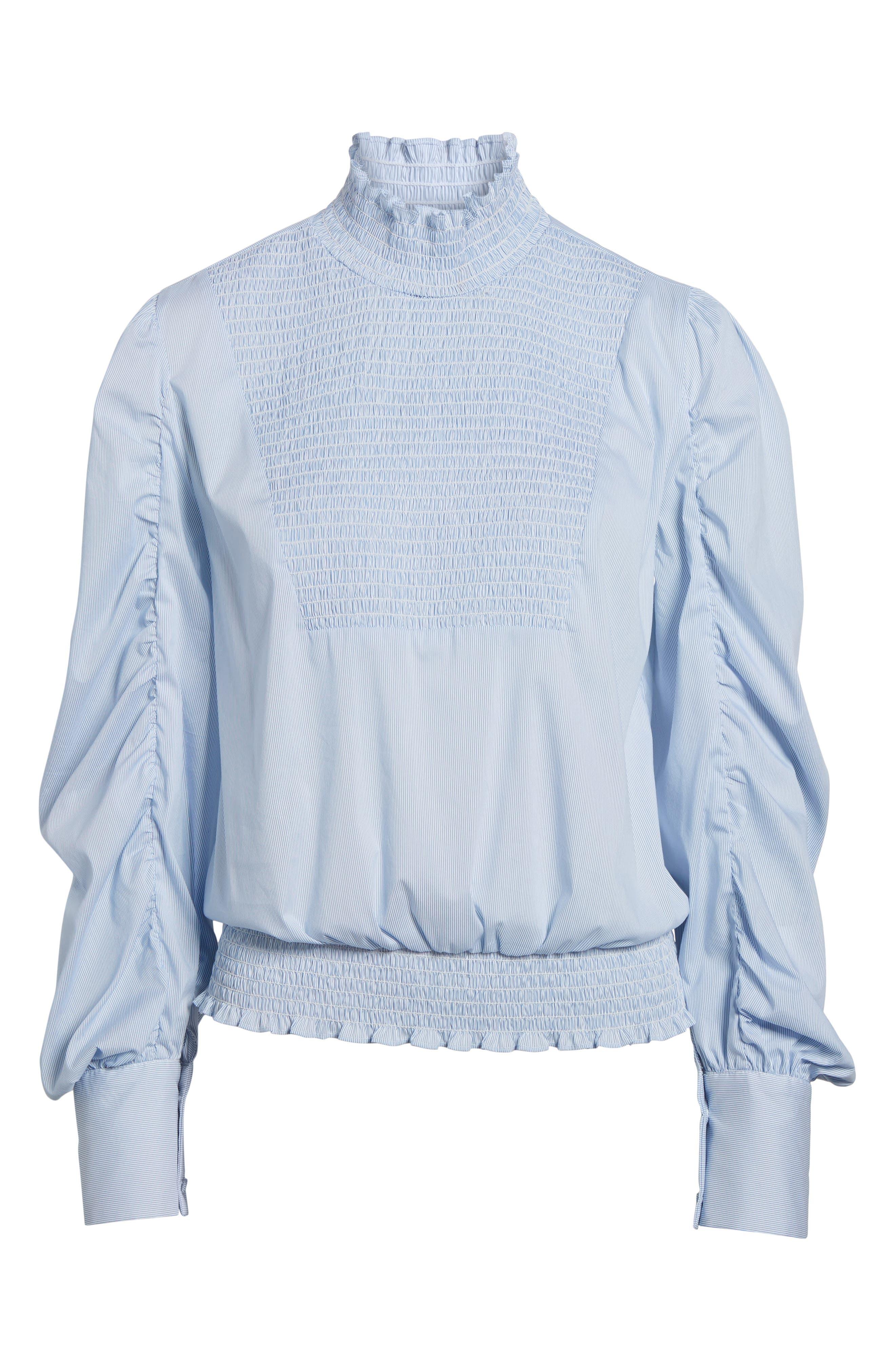 Smocked Puff Sleeve Poplin Top,                             Alternate thumbnail 6, color,                             Blue- White Pinstripe
