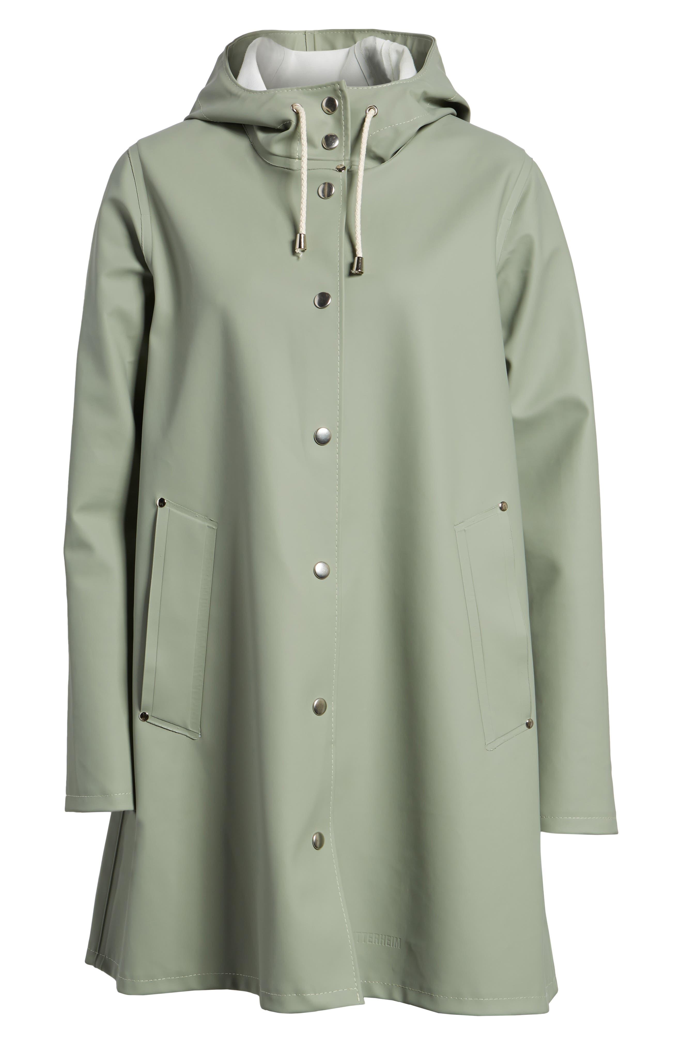 Mosebacke Waterproof A-Line Hooded Raincoat,                             Alternate thumbnail 7, color,                             Khaki Green